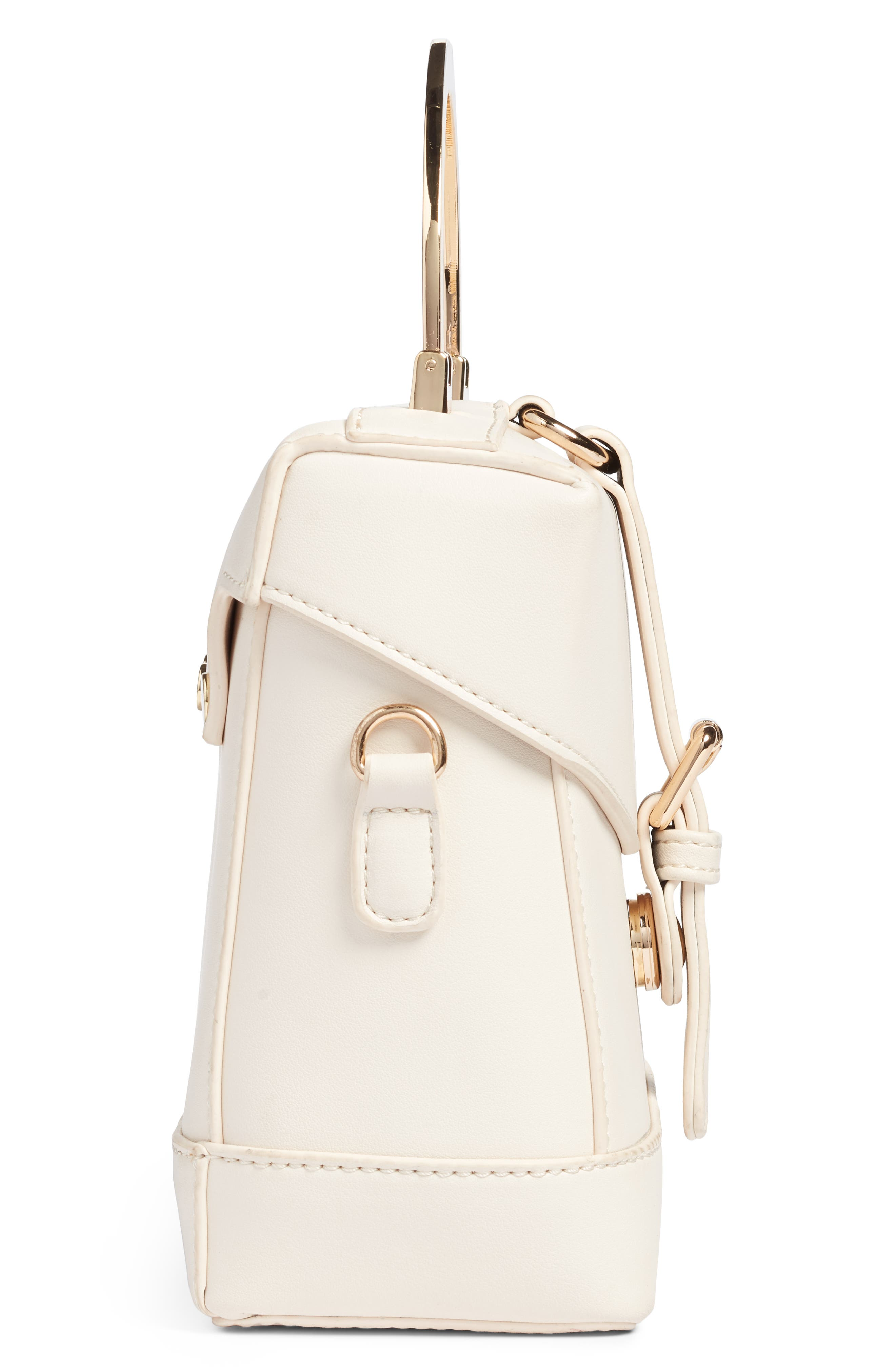 Top Handle Studded Bag,                             Alternate thumbnail 4, color,                             WHITE