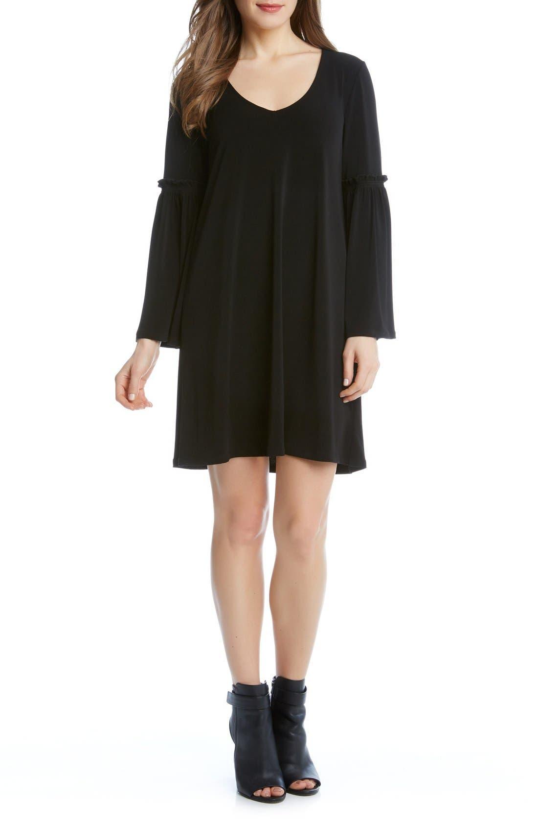 Bell Sleeve A-Line Dress,                             Alternate thumbnail 3, color,                             001