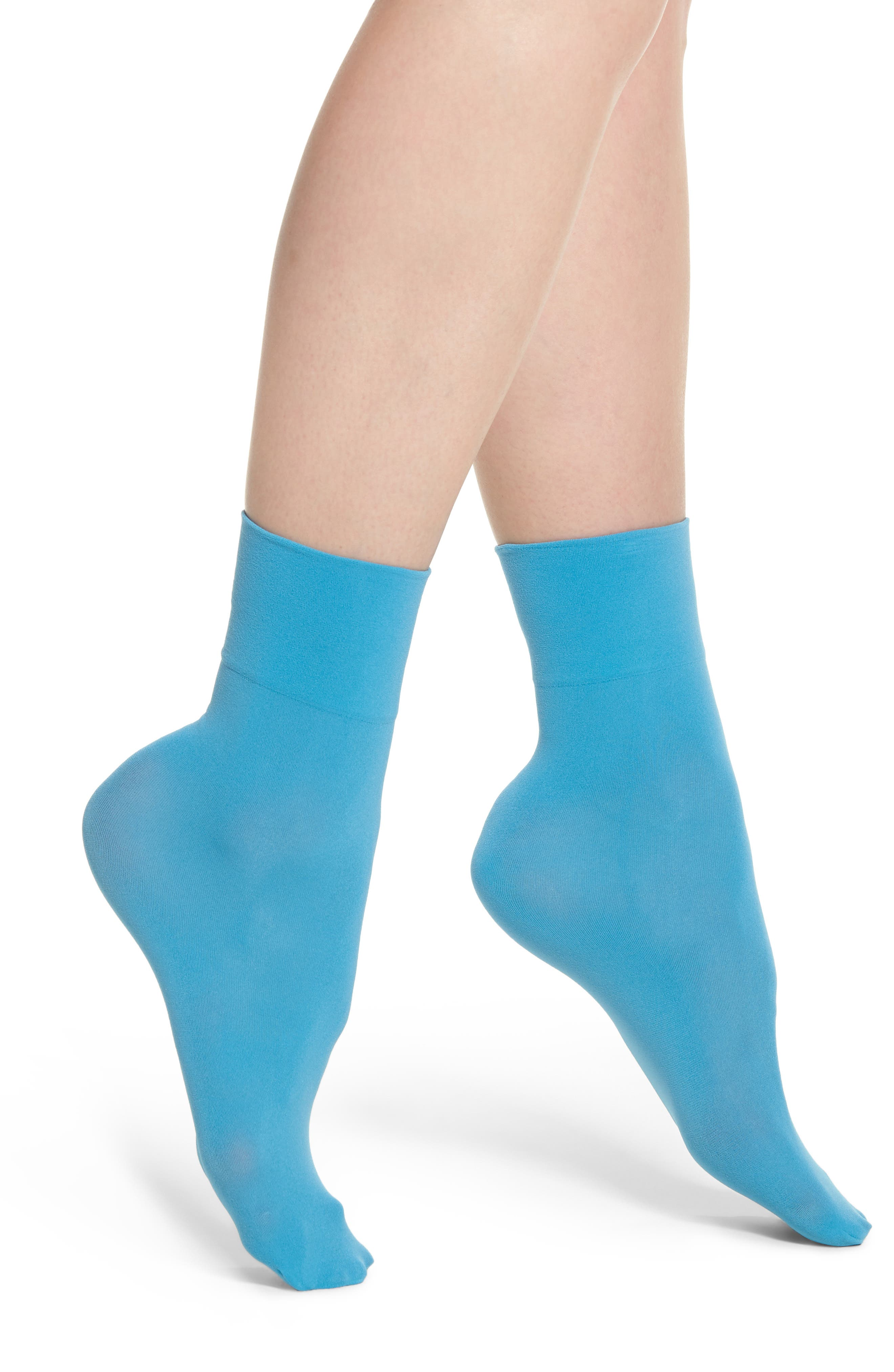 Opaque Anklet Socks,                         Main,                         color, BLUE CHICK