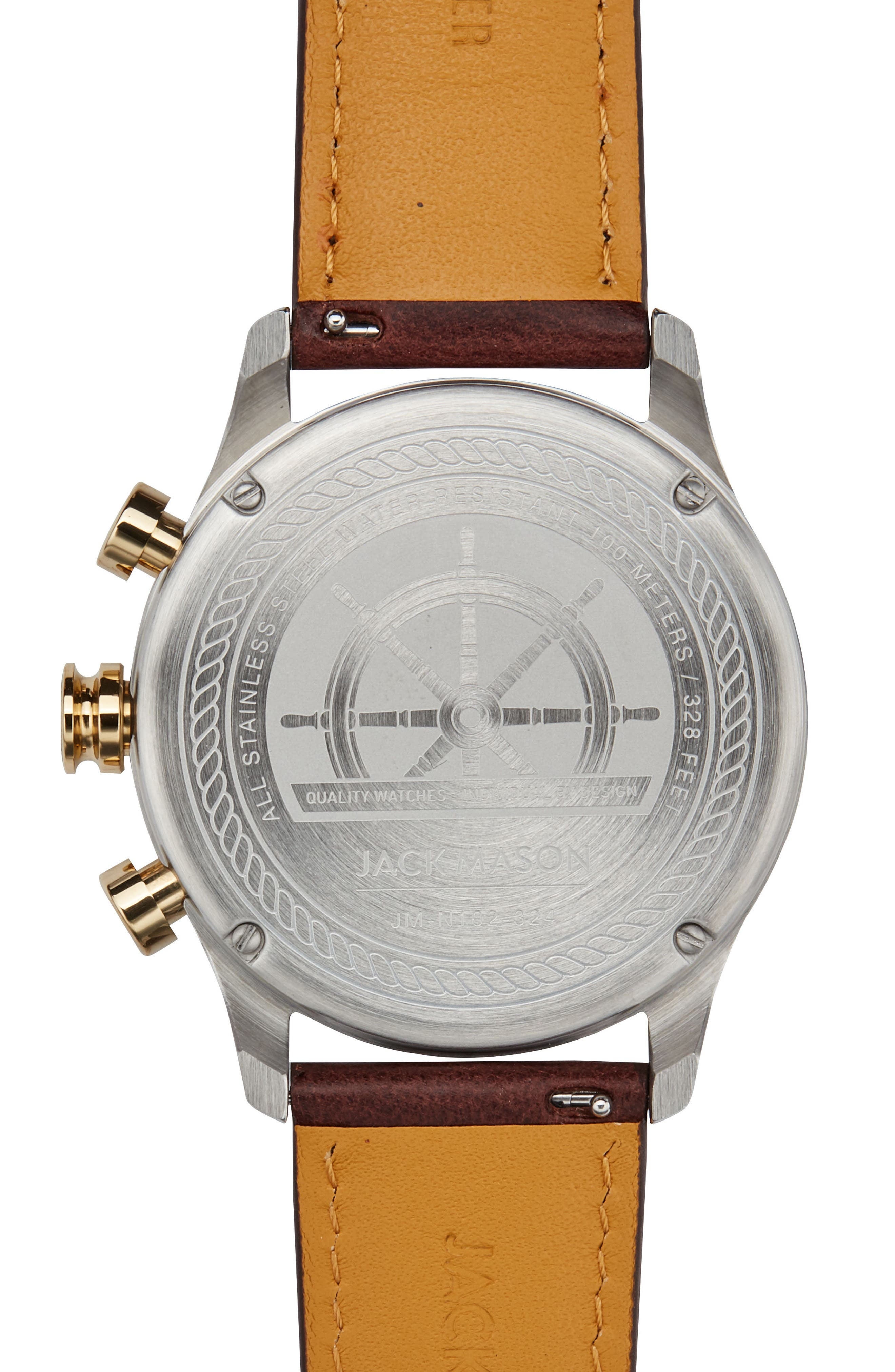 Nautical Chronograph Leather Strap Watch, 42mm,                             Alternate thumbnail 2, color,                             WHITE/ BROWN