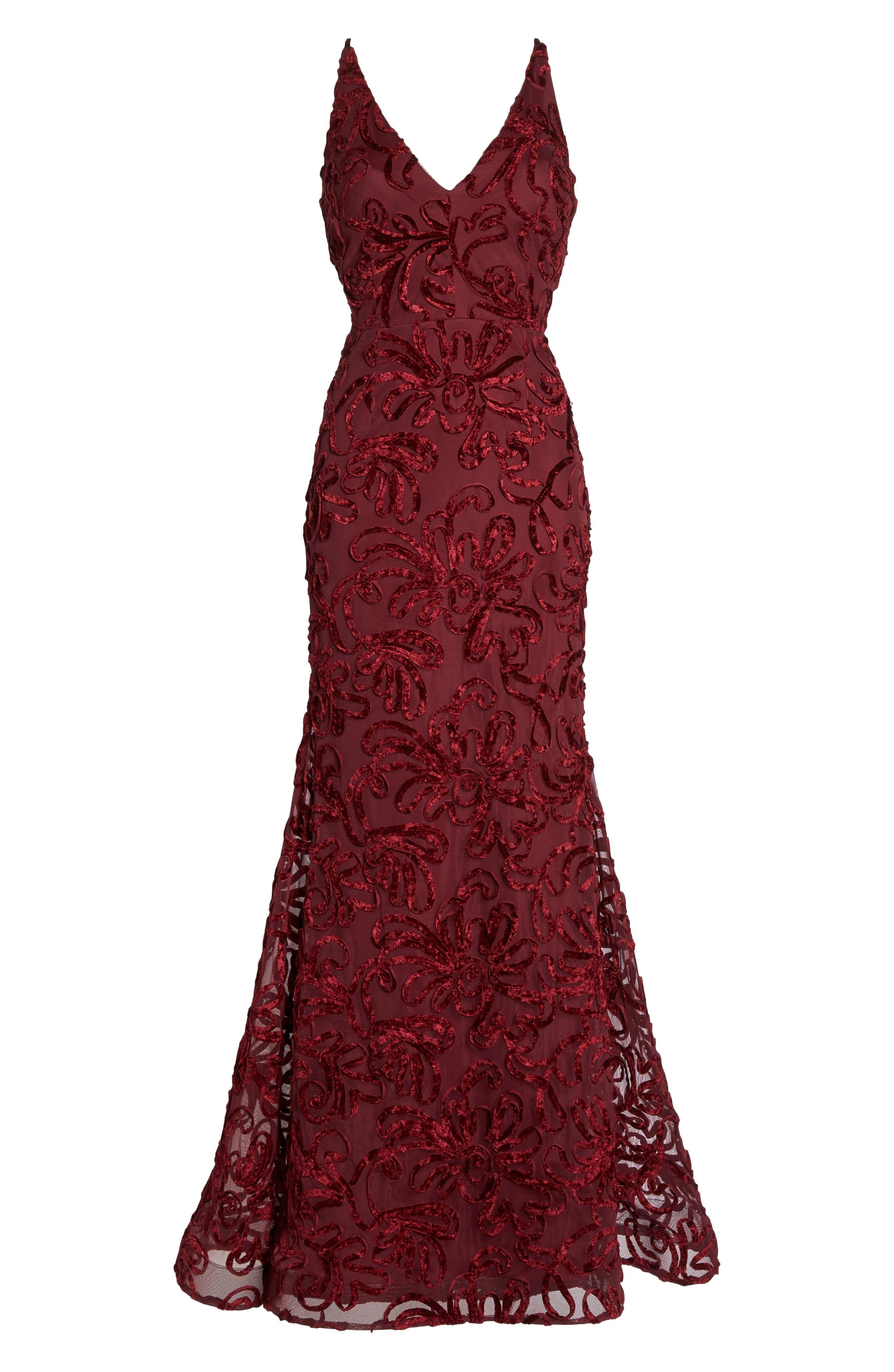 Flocked Velvet Gown,                             Alternate thumbnail 6, color,                             600