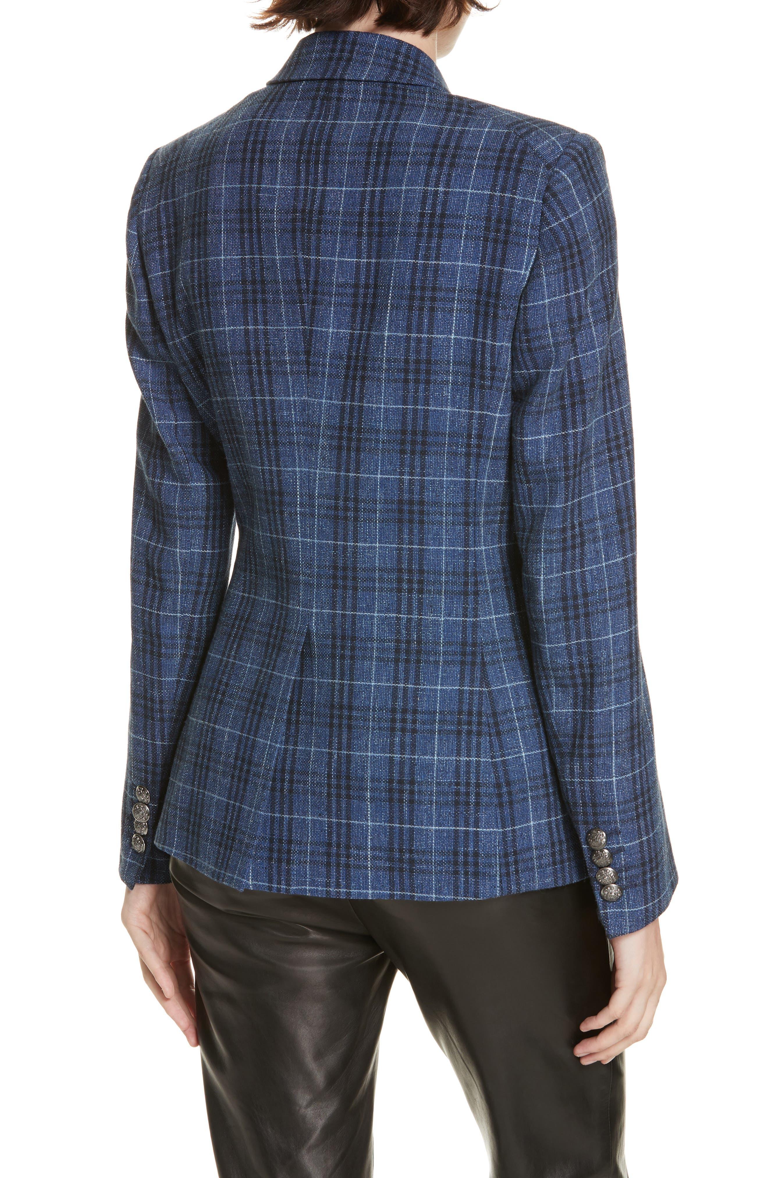 VERONICA BEARD,                             Miller Wool Blend Plaid Dickey Jacket,                             Alternate thumbnail 3, color,                             BLUE