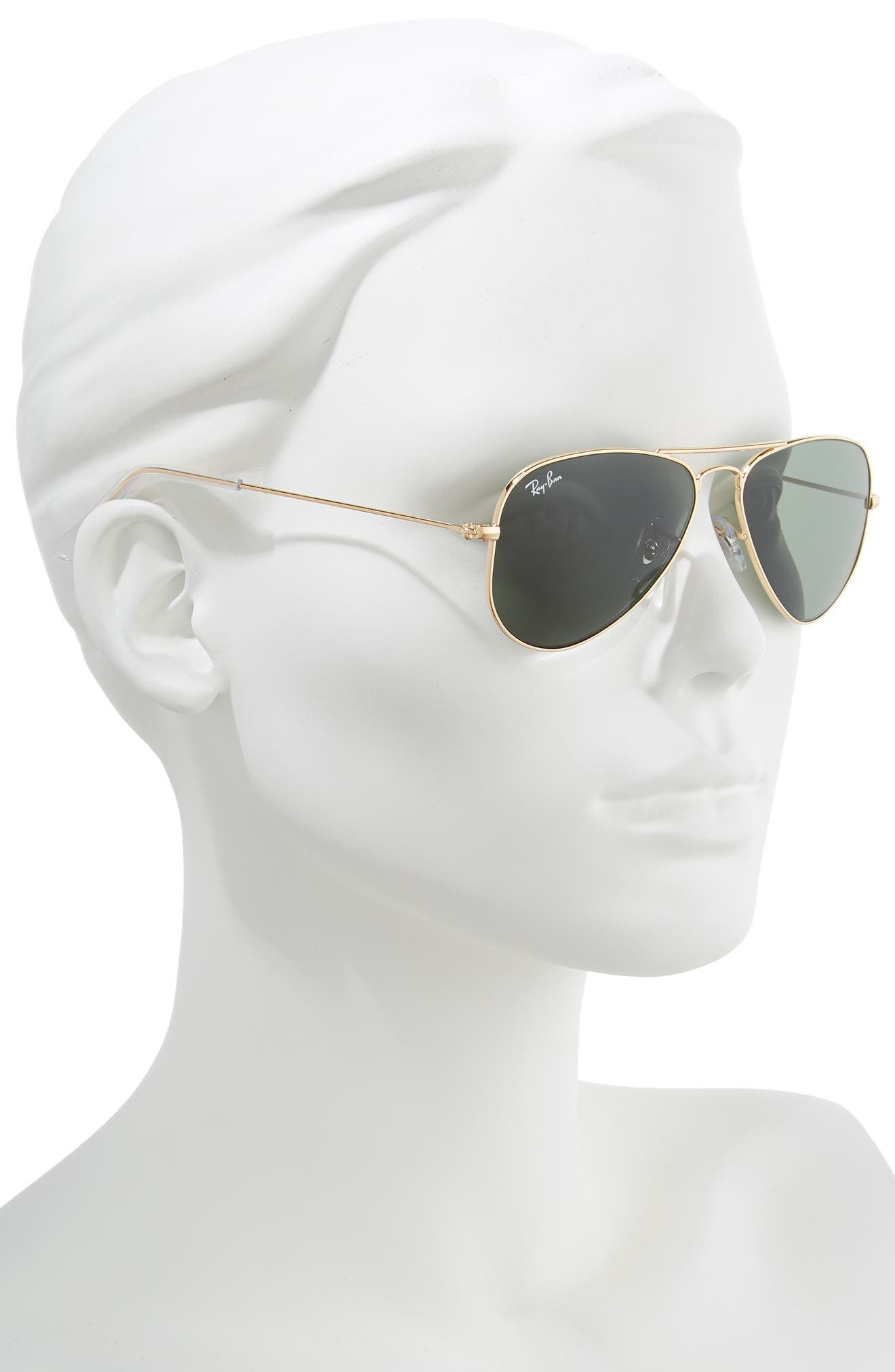 52mm Extra Small Aviator Sunglasses,                             Alternate thumbnail 2, color,                             GOLD/ GREEN SOLID