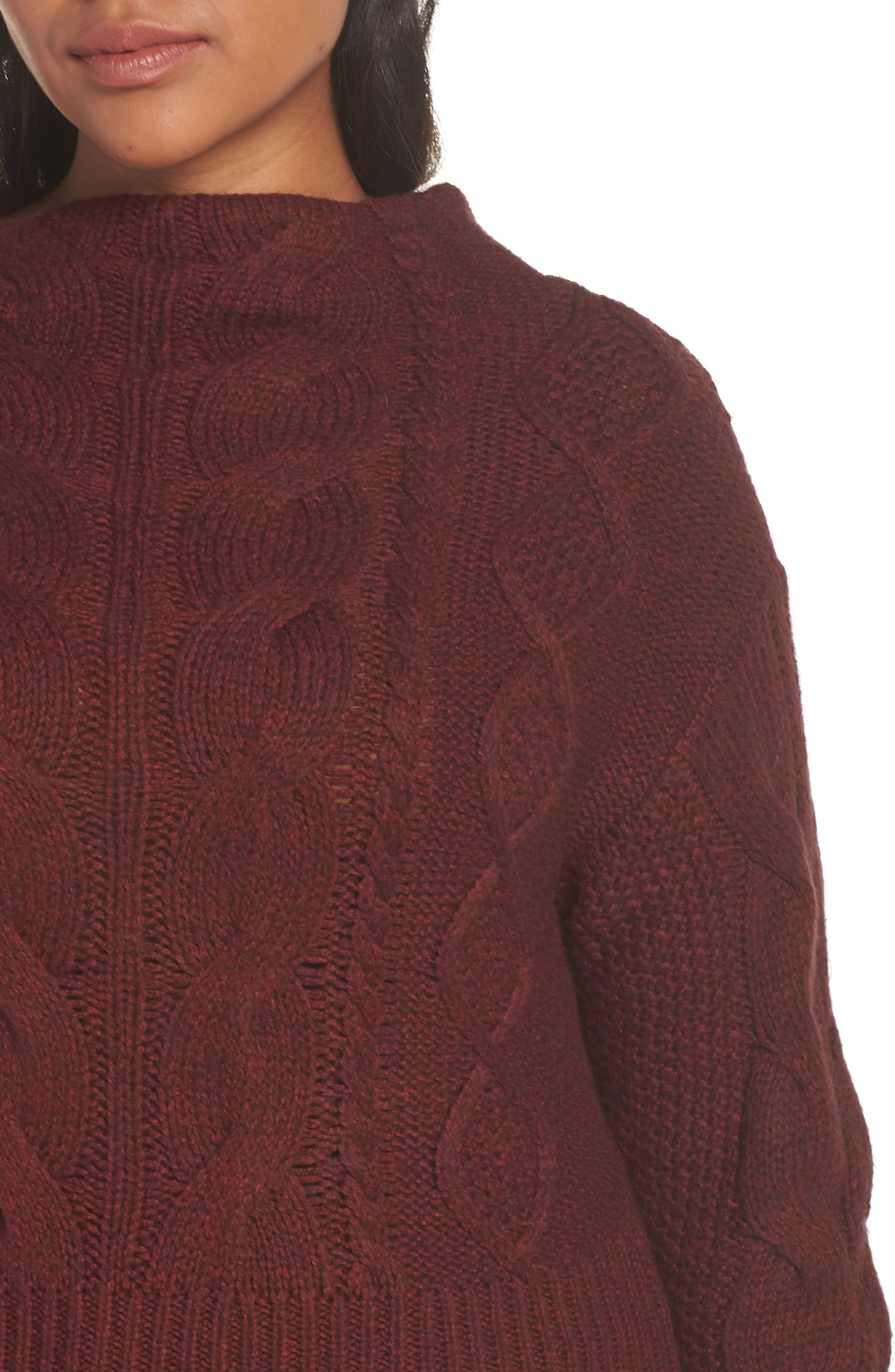 Cotton Blend Cable Knit Sweater,                             Alternate thumbnail 6, color,                             MANOR RED