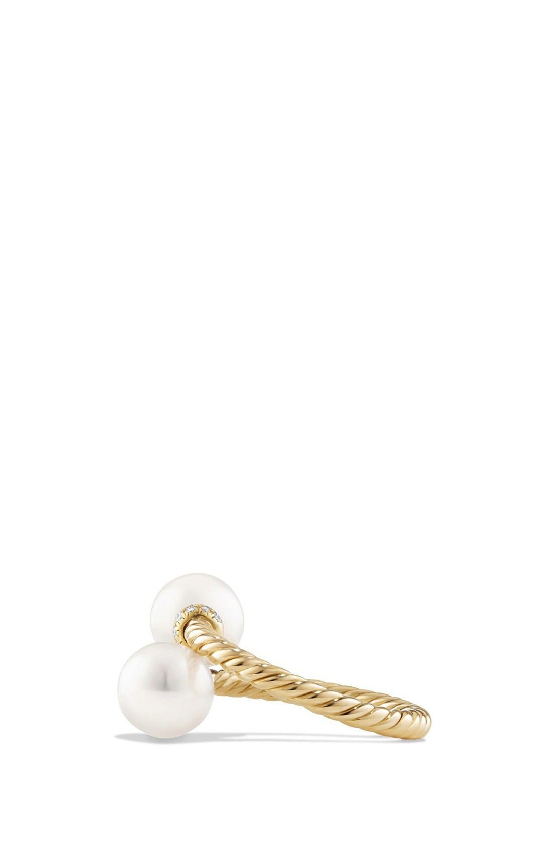 'Solari' Bead Ring with Diamonds and Pearls in 18K Gold,                             Alternate thumbnail 2, color,                             PEARL