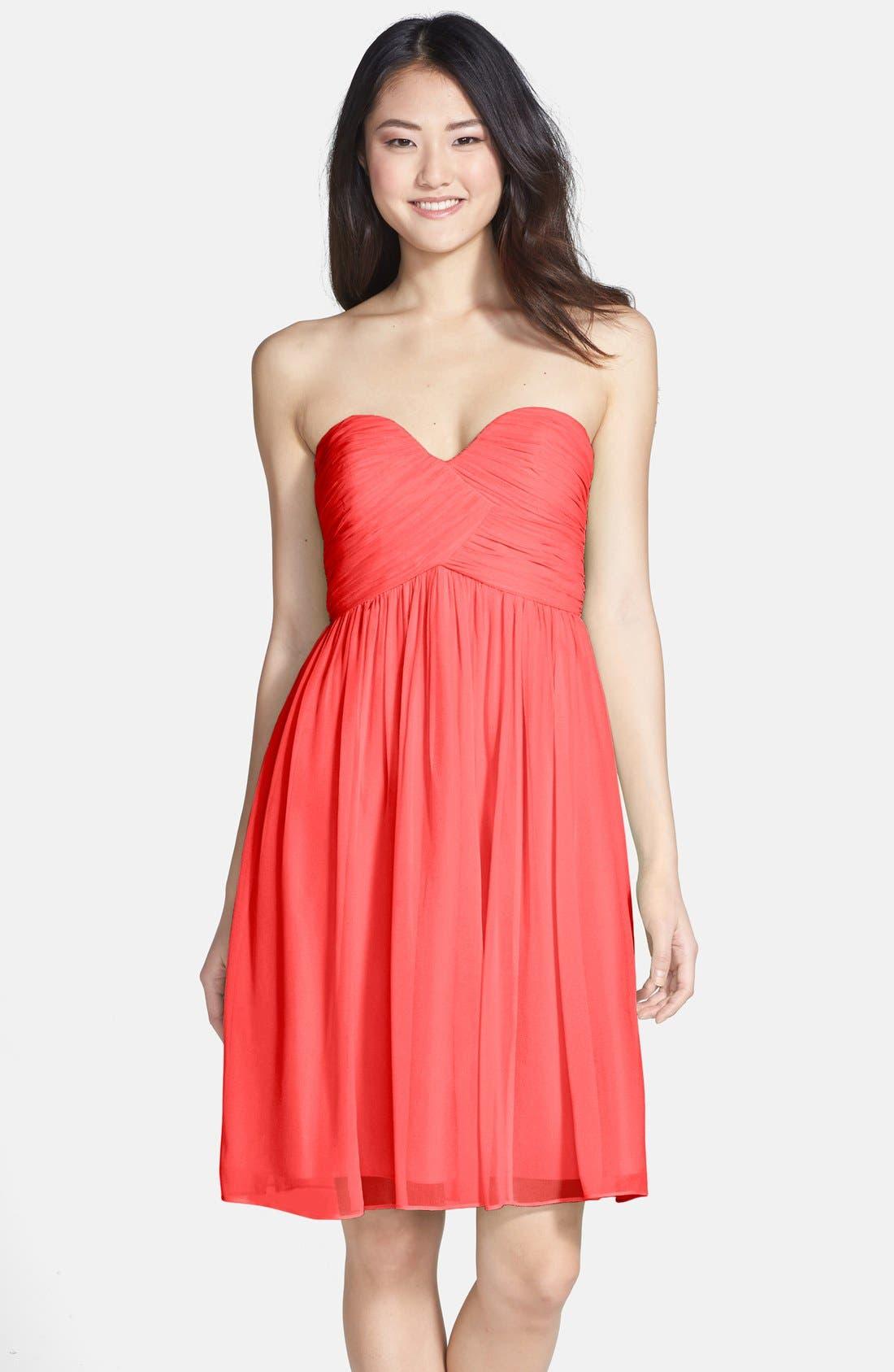'Morgan' Strapless Silk Chiffon Dress,                             Main thumbnail 40, color,