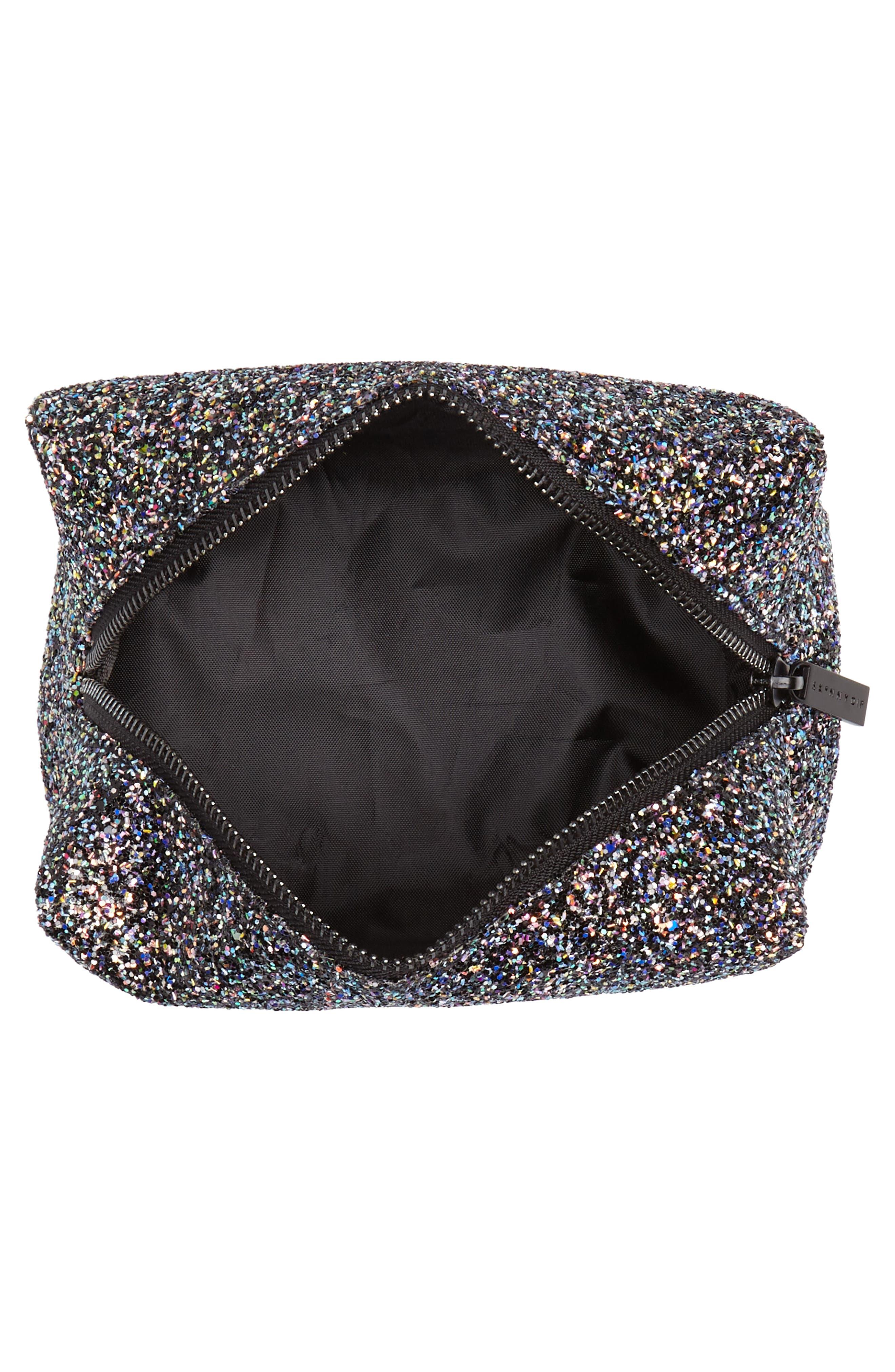Skinny Dip Liquorice Glitter Cosmetics Bag,                             Alternate thumbnail 3, color,                             000