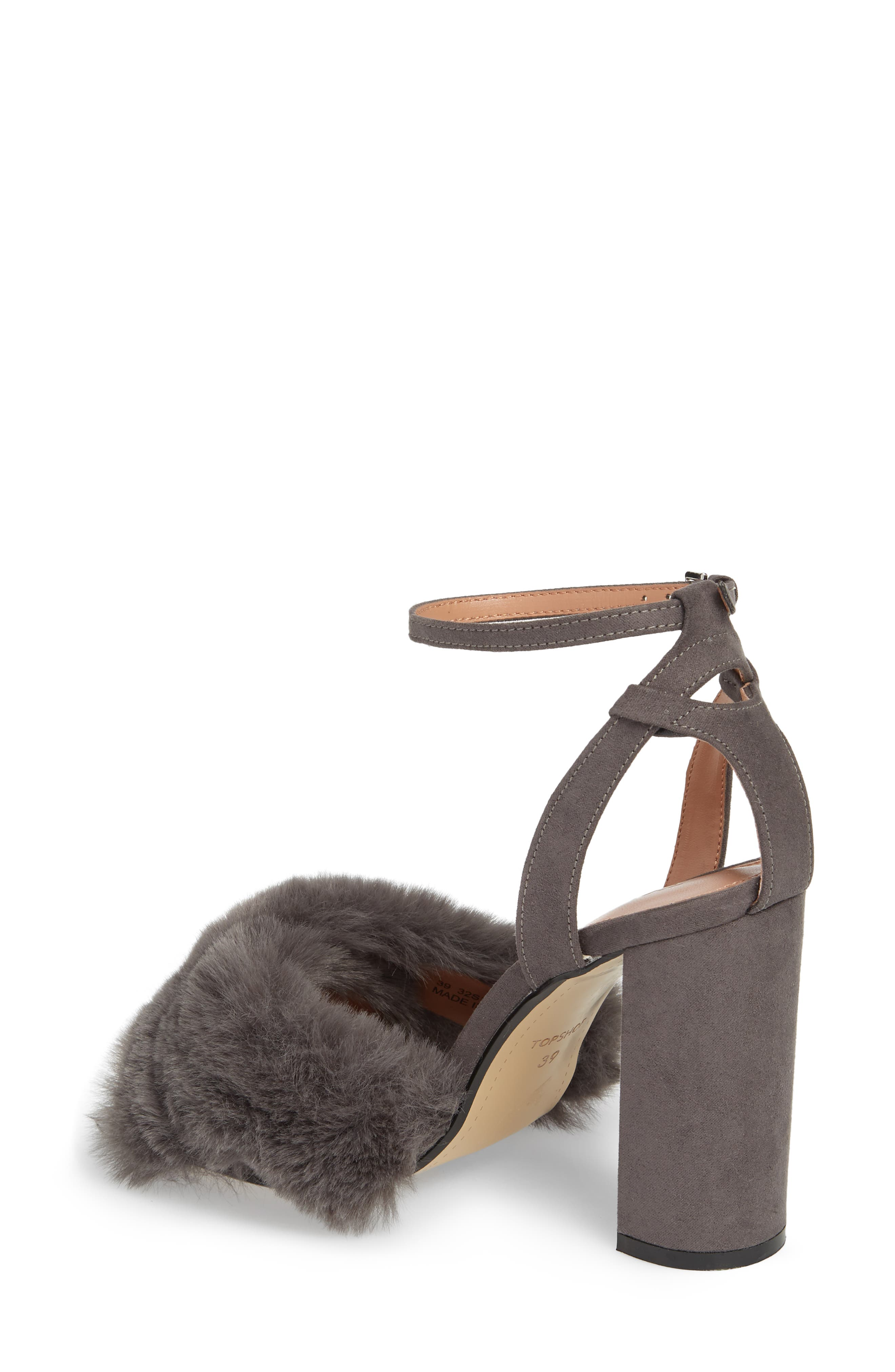 Sassy Faux Fur Sandal,                             Alternate thumbnail 5, color,