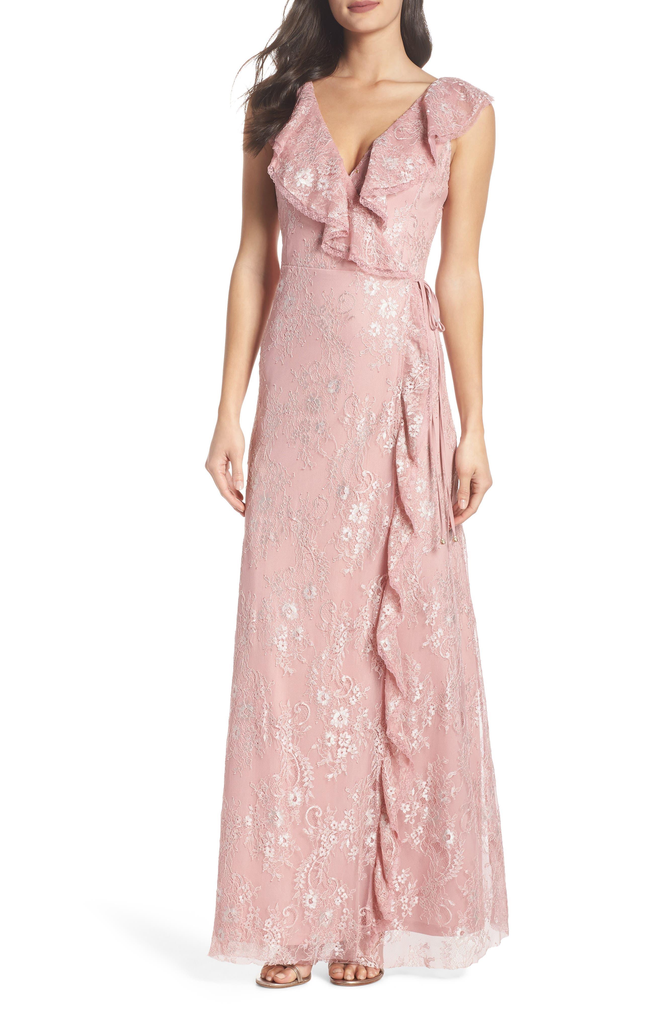 Rio Ruffle Lace Wrap Gown,                             Alternate thumbnail 5, color,                             CALYPSO