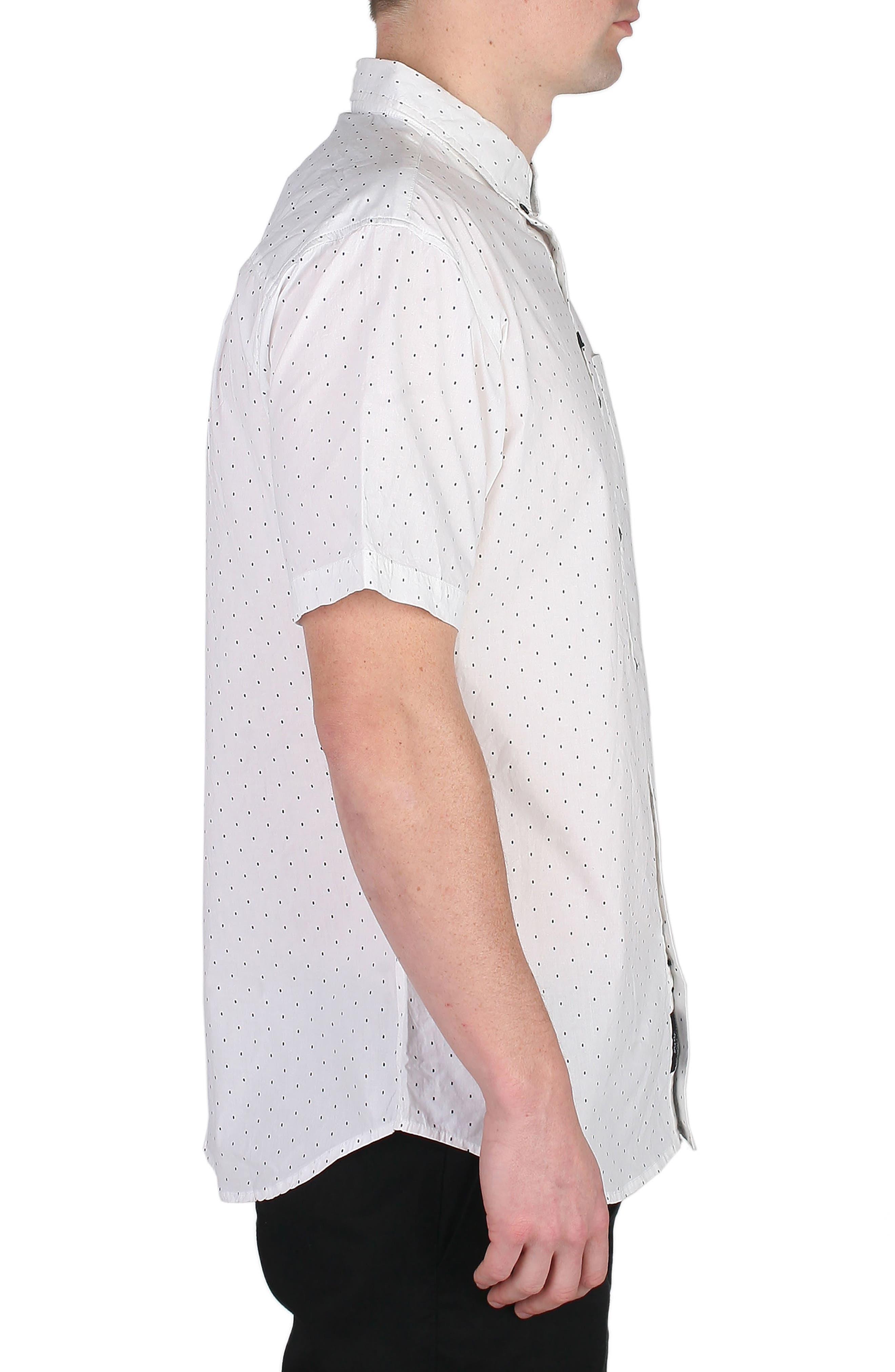 Winston Dot Print Woven Shirt,                             Alternate thumbnail 3, color,                             100