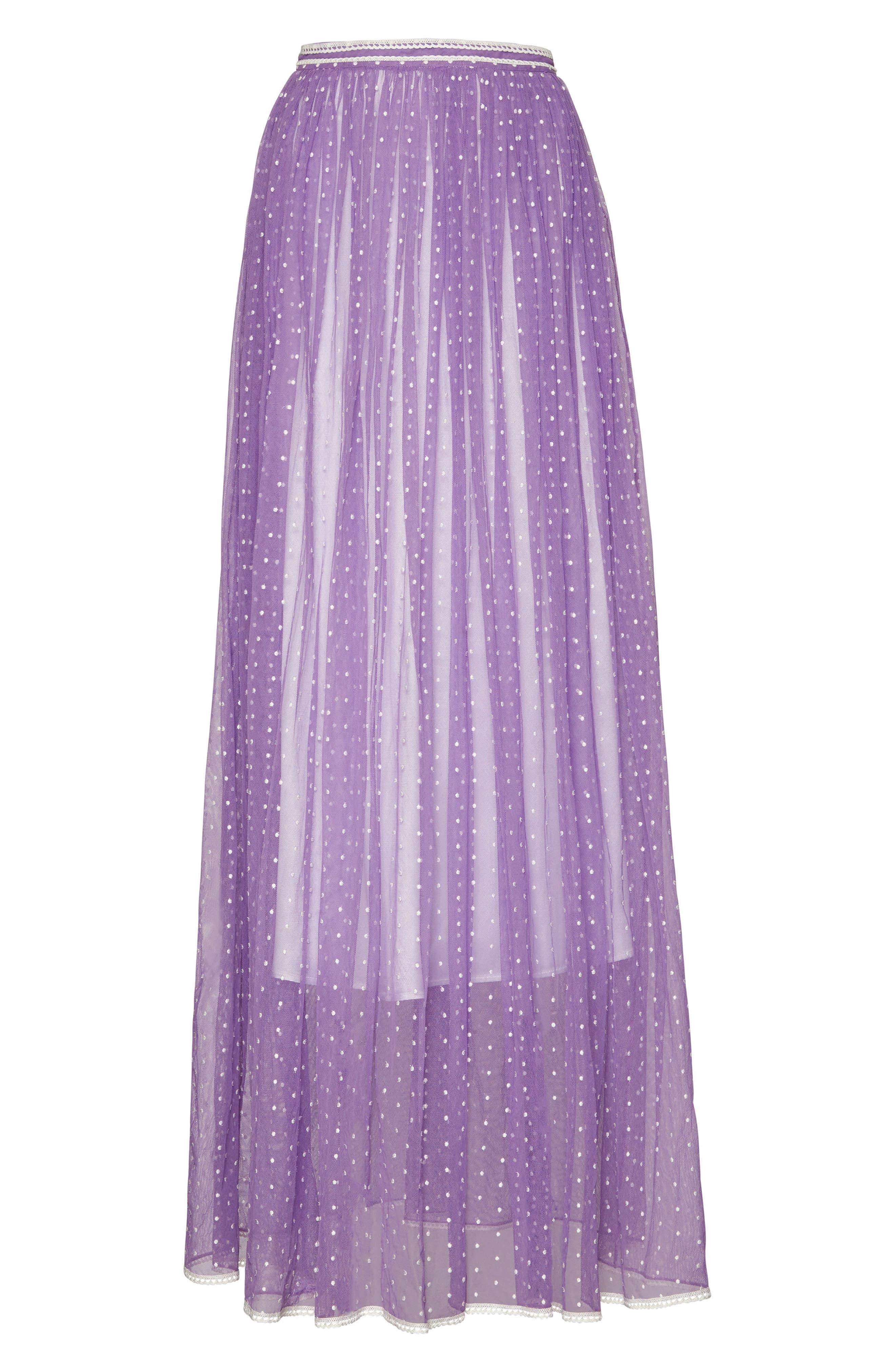 Flocked Tulle Maxi Skirt,                             Alternate thumbnail 4, color,                             520
