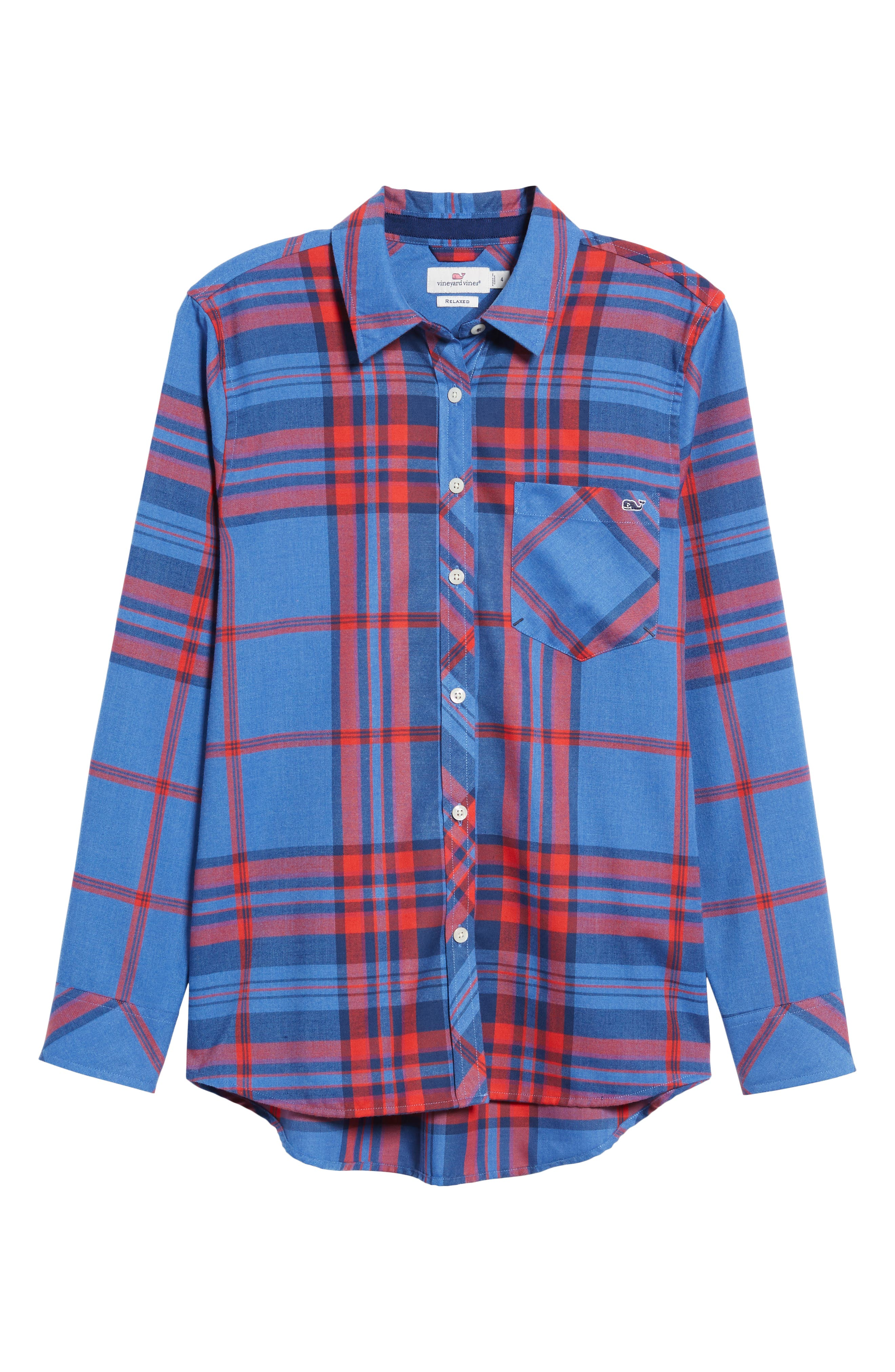 Northern Plaid Performance Flannel Shirt,                             Alternate thumbnail 6, color,                             DAZZLING BLUE