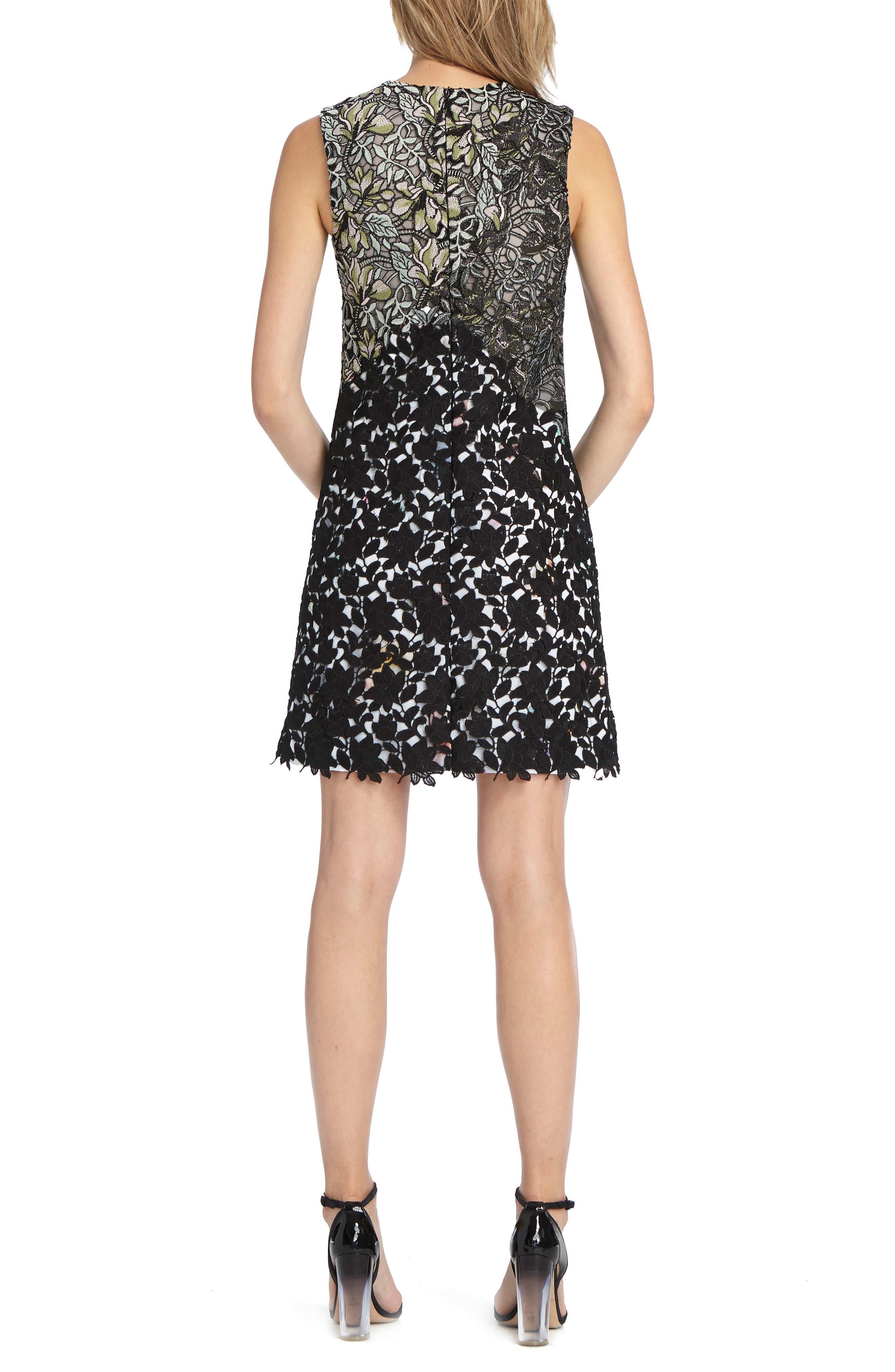 Mixed Lace Shift Dress,                             Alternate thumbnail 2, color,                             001