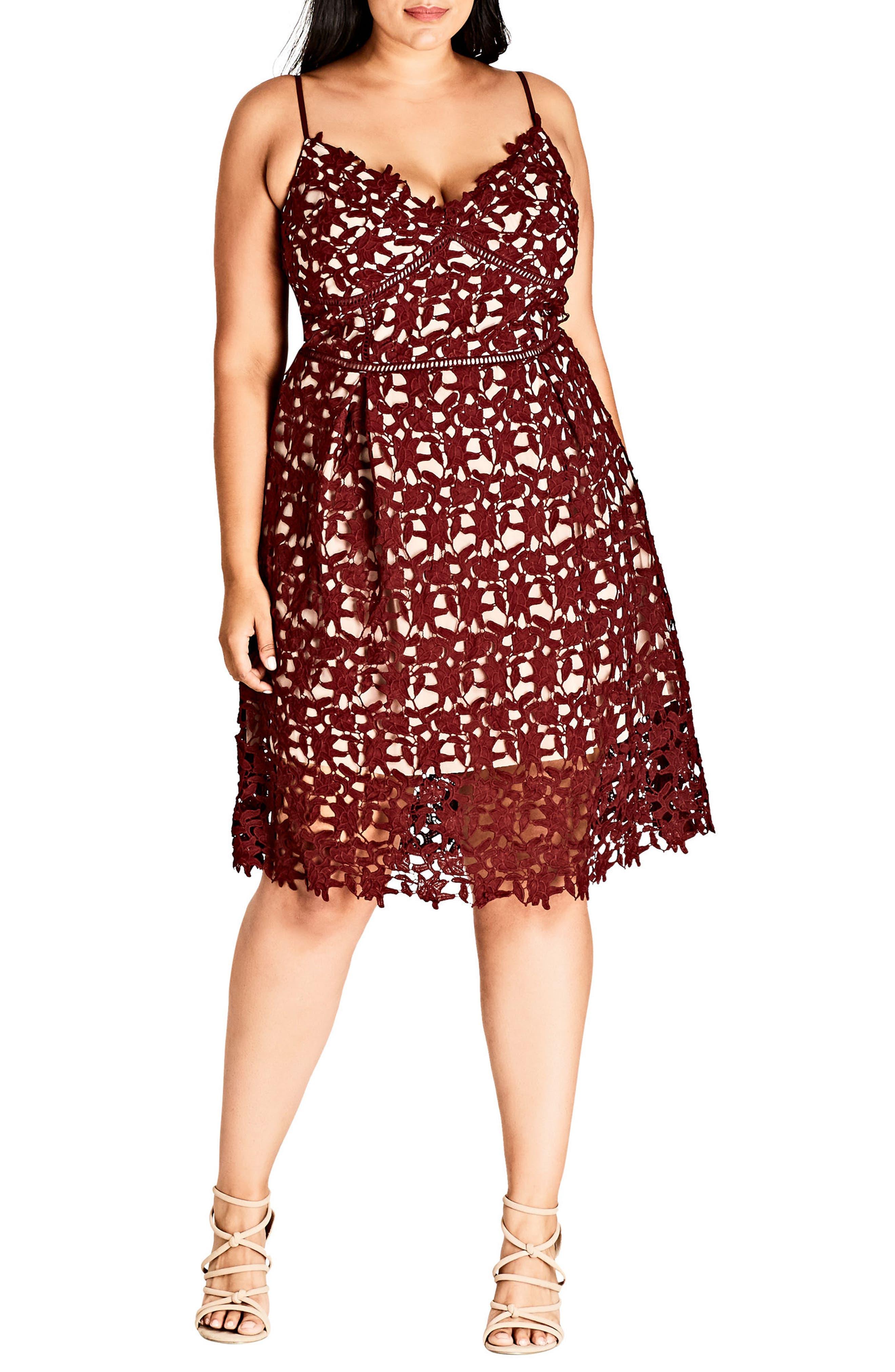 CITY CHIC So Fancy Lace Dress, Main, color, 605