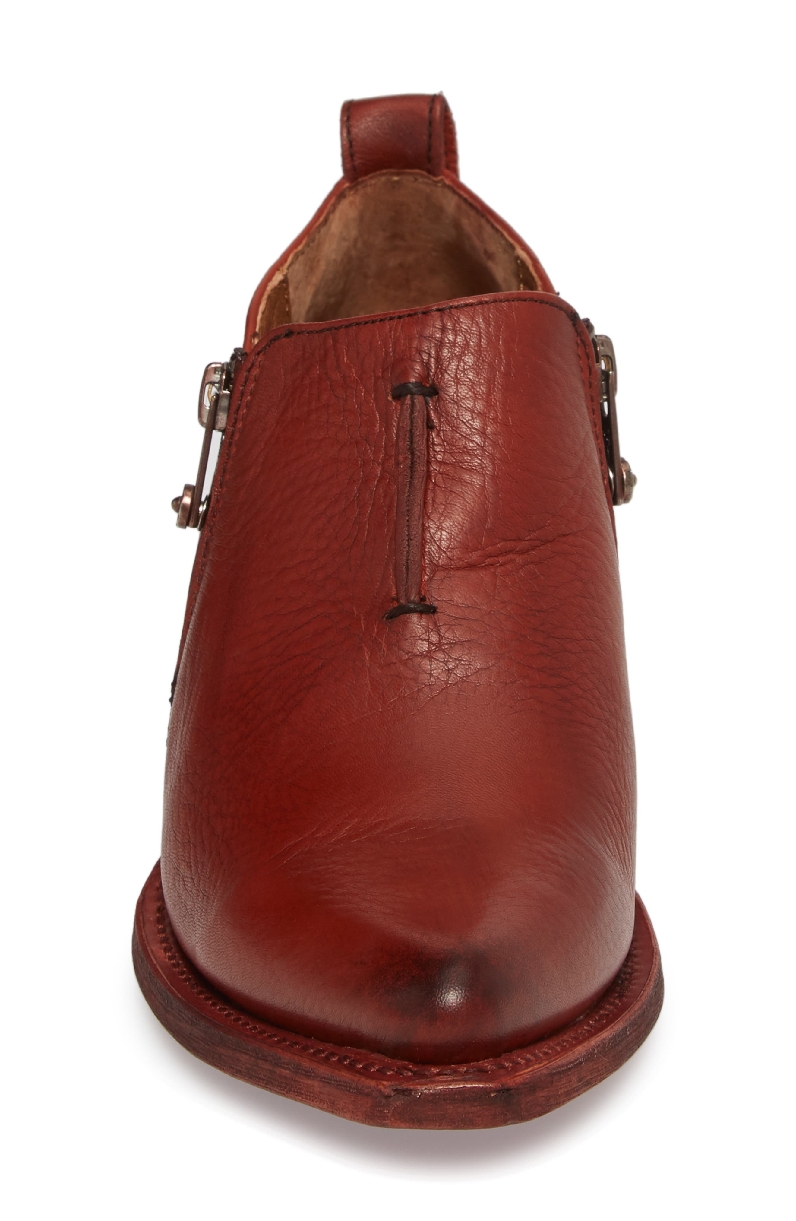 'Sacha' Moto Shootie,                             Alternate thumbnail 4, color,                             RED CLAY LEATHER