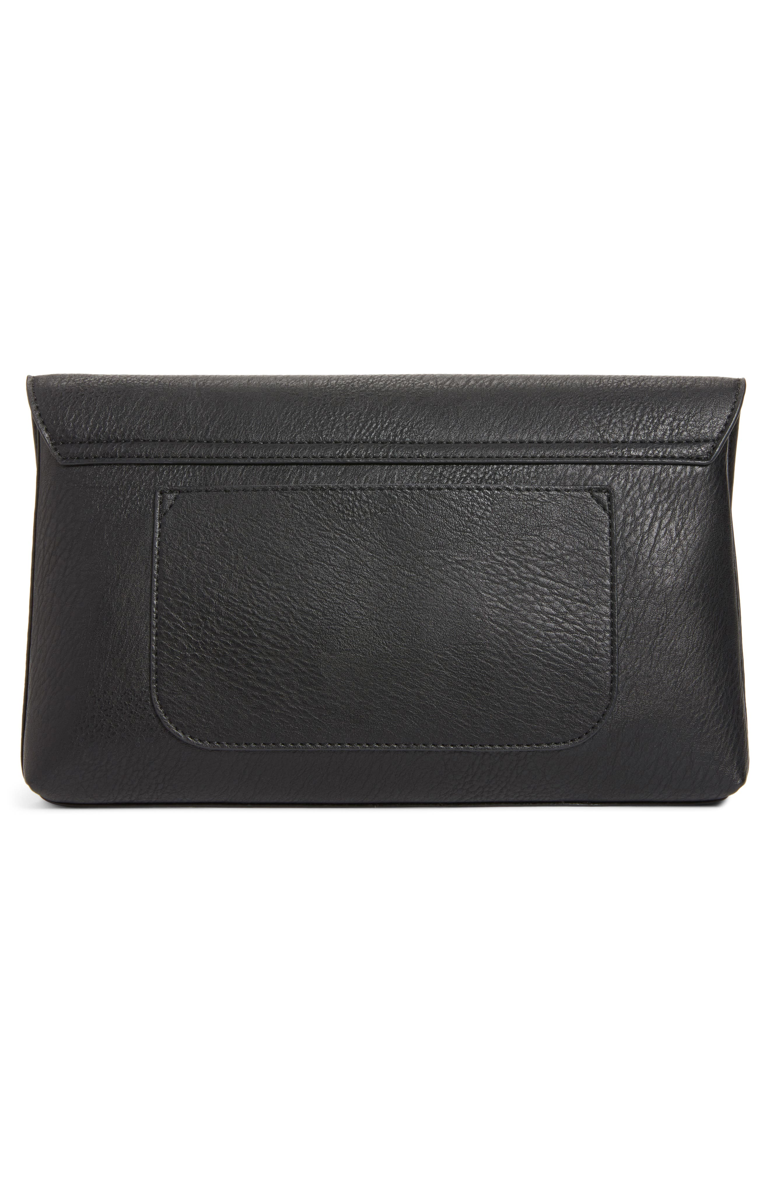 Faux Leather Circle Clutch,                             Alternate thumbnail 3, color,                             BLACK