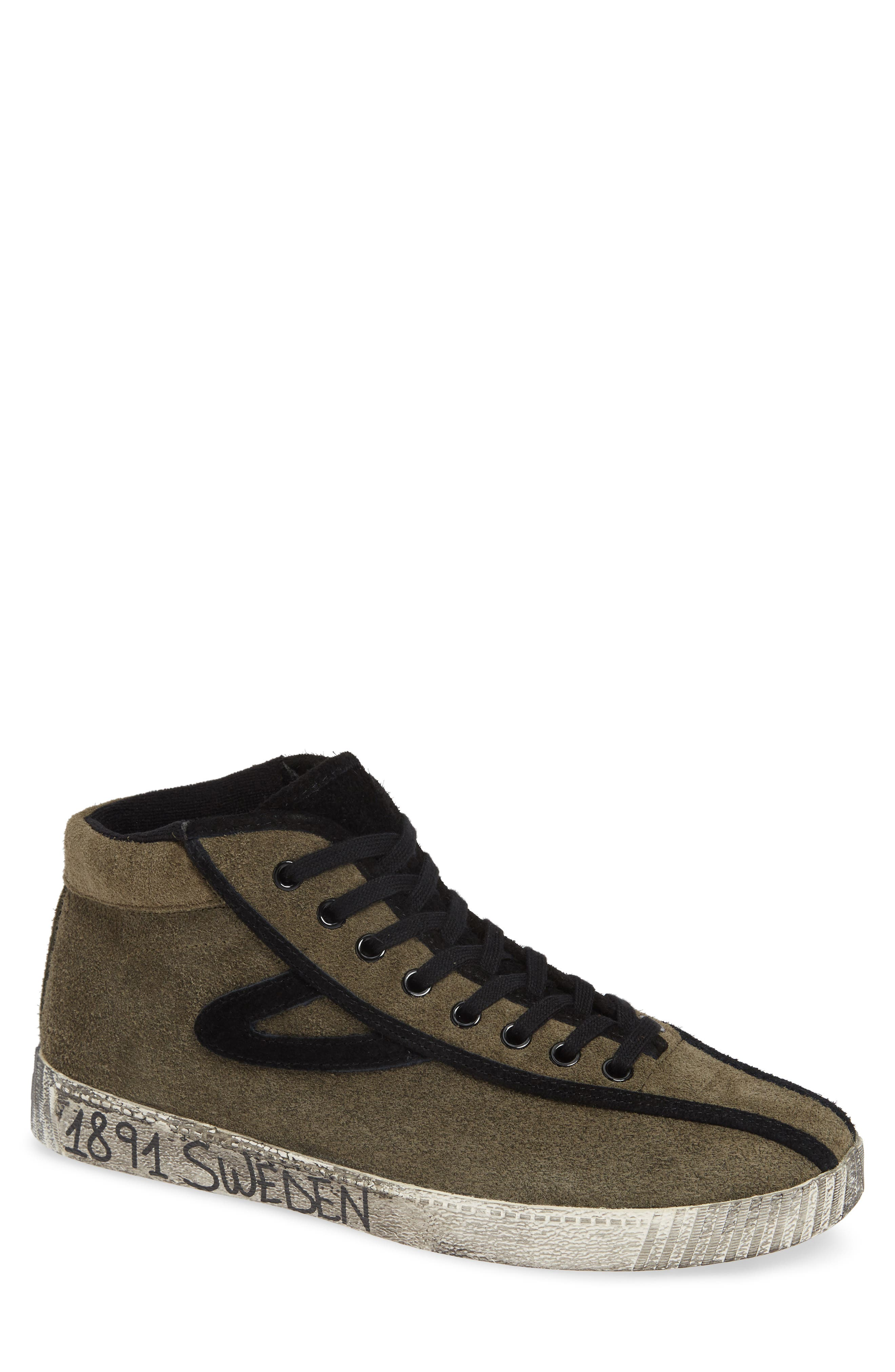 Nylite Hi 21 High Top Sneaker,                         Main,                         color, OLIVE/ BLACK SUEDE
