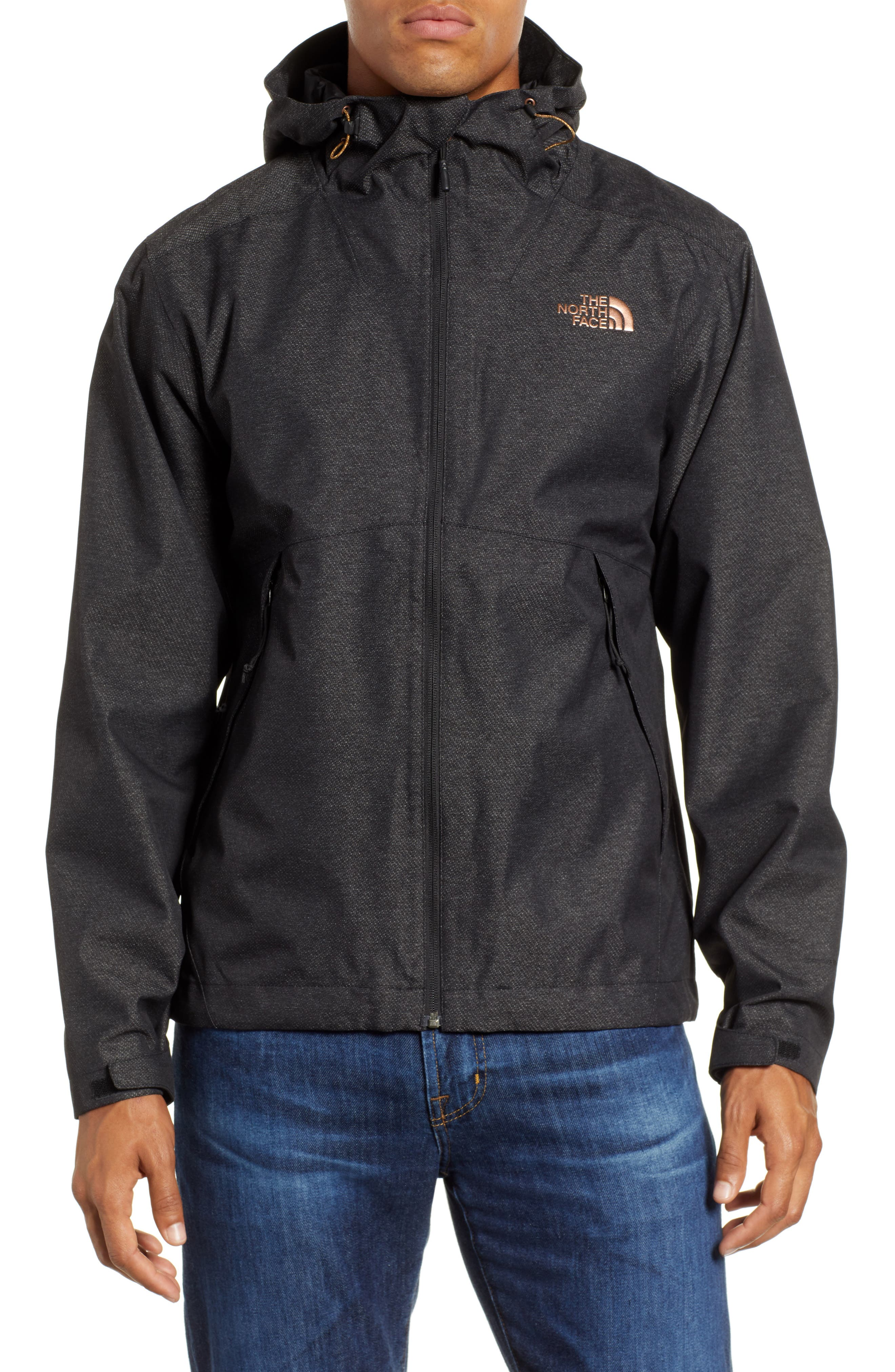 Millerton Hooded Waterproof Jacket,                             Alternate thumbnail 4, color,                             TNF BLACK / METALLIC COPPER