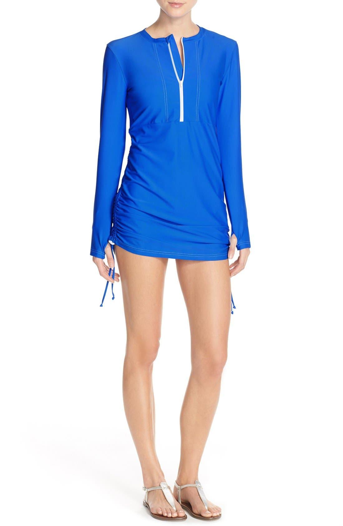 'Sonja' Long Sleeve Half Zip Convertible Swimdress,                             Main thumbnail 5, color,