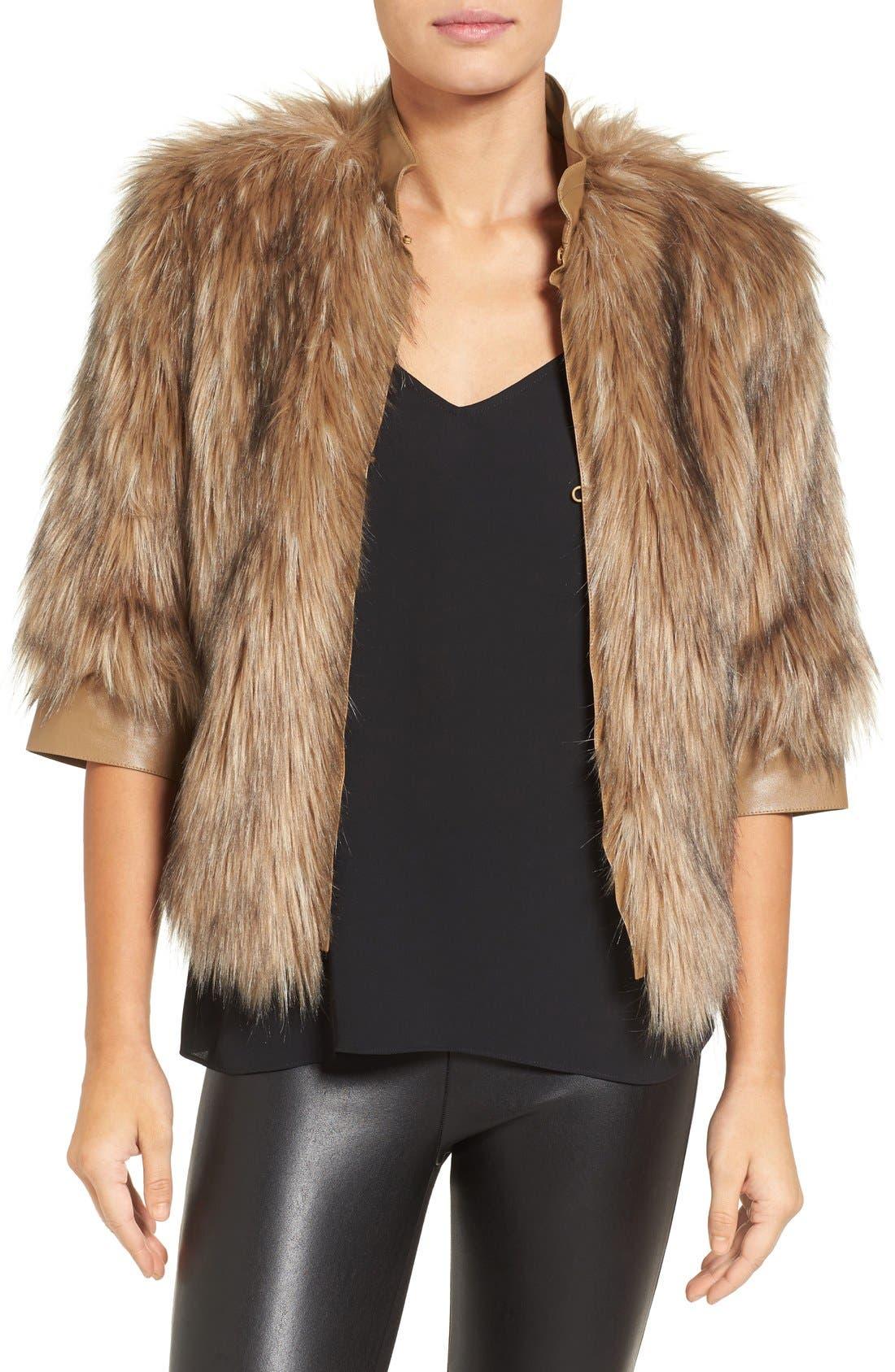 Faux Fur Jacket,                             Main thumbnail 1, color,                             250