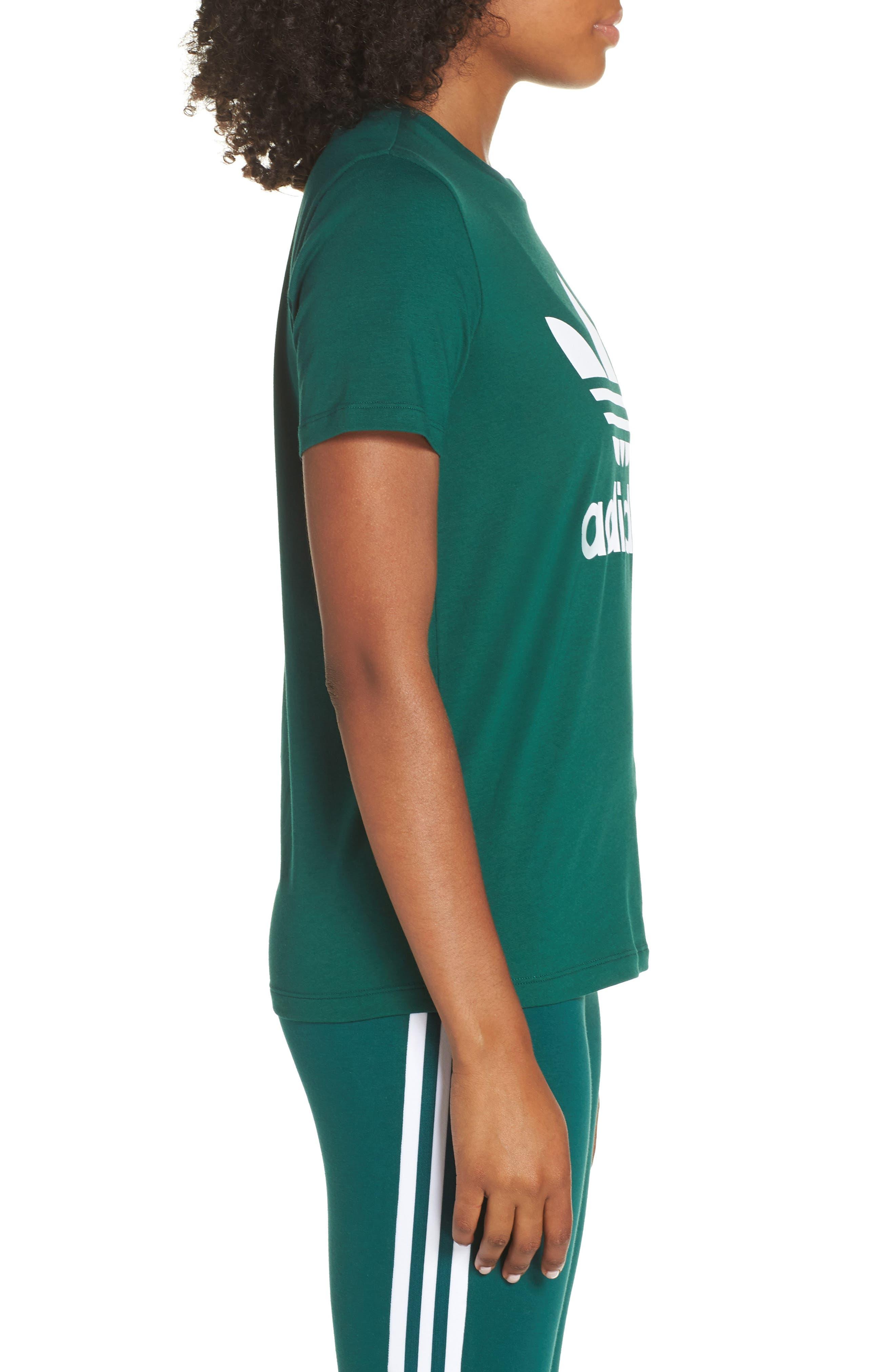 adidas Trefoil Tee,                             Alternate thumbnail 3, color,                             COLLEGIATE GREEN