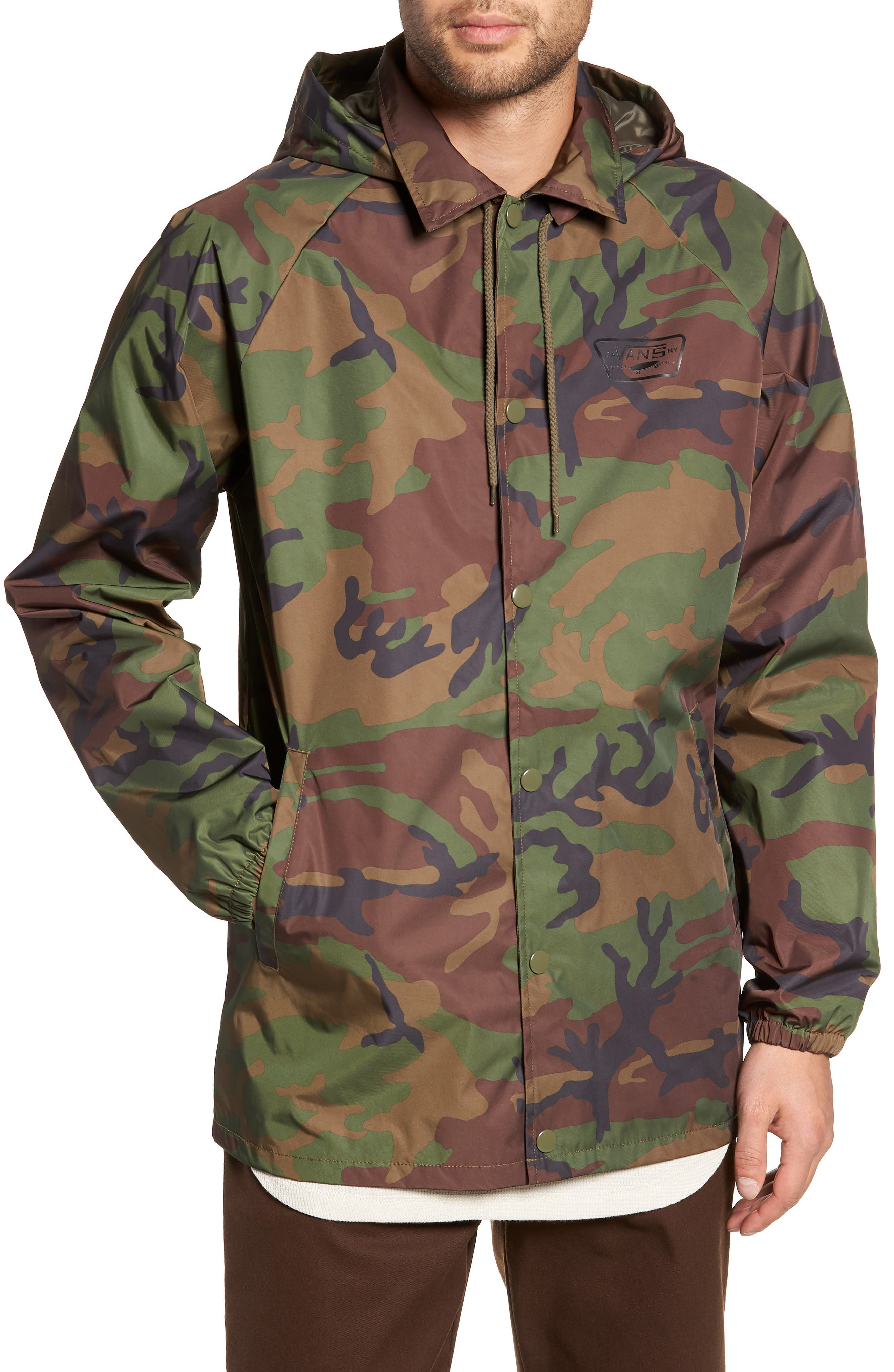 Torrey Water-Resistant Jacket with Detachable Hood,                             Alternate thumbnail 4, color,                             CAMO