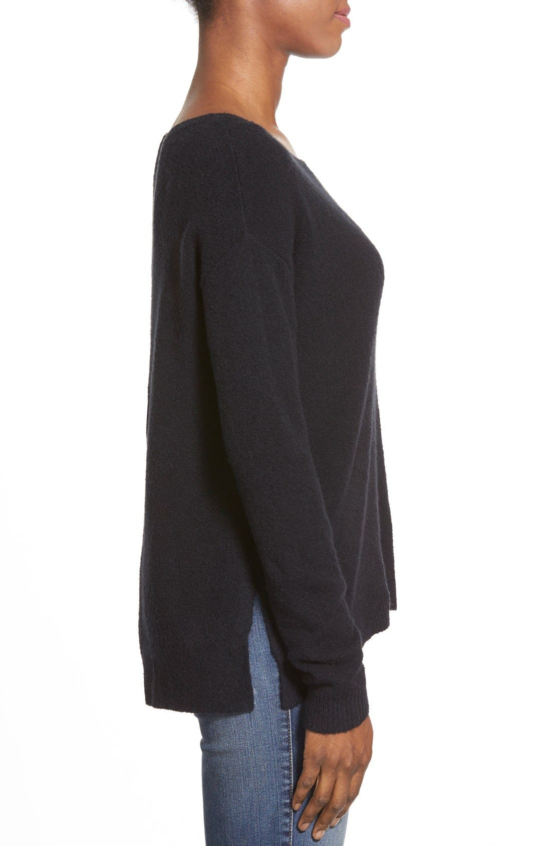 Back Zip High/Low Sweater,                             Alternate thumbnail 8, color,                             001