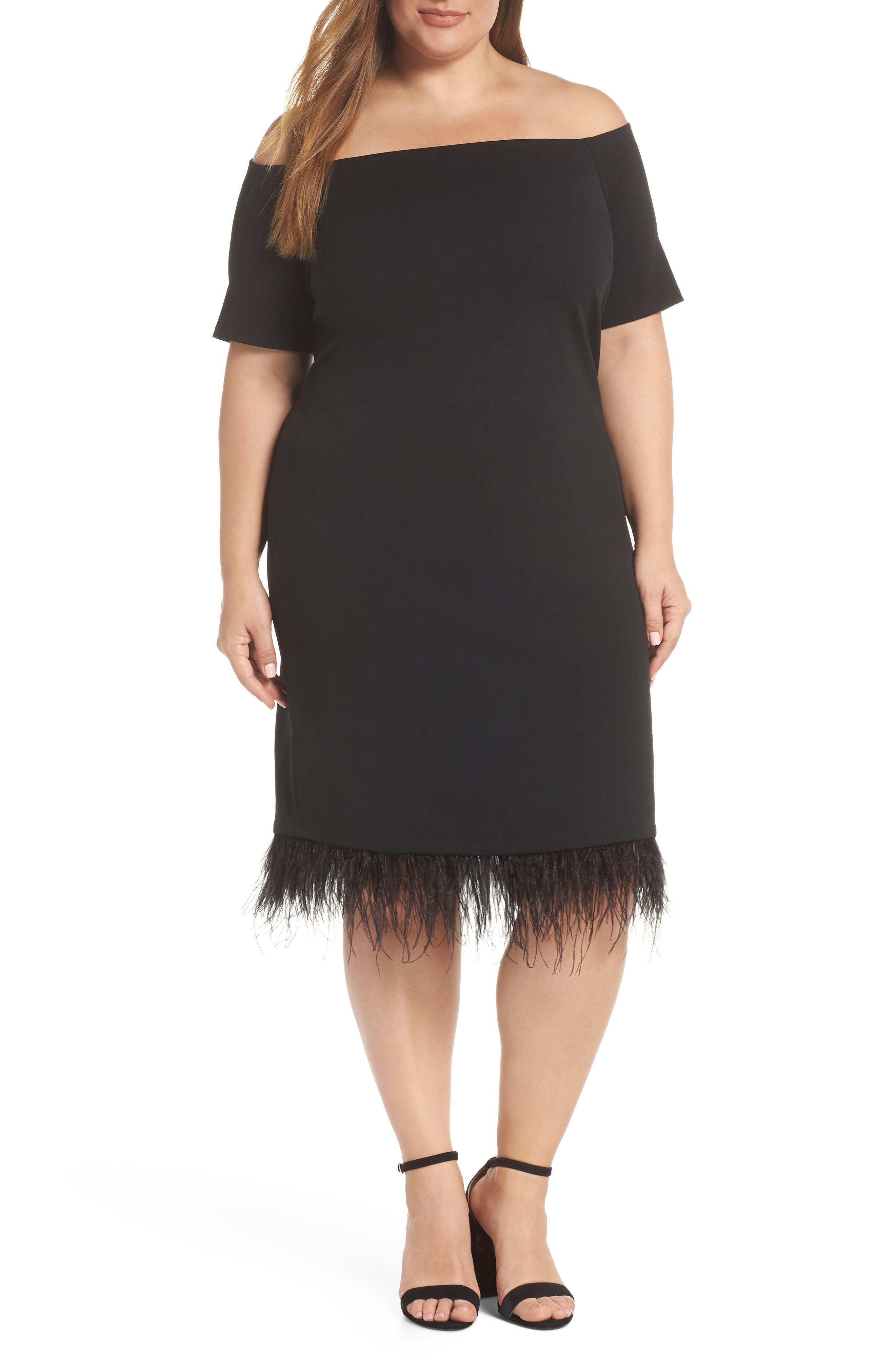 Plus Size Vince Camuto Feather Trim Sheath Dress, Black