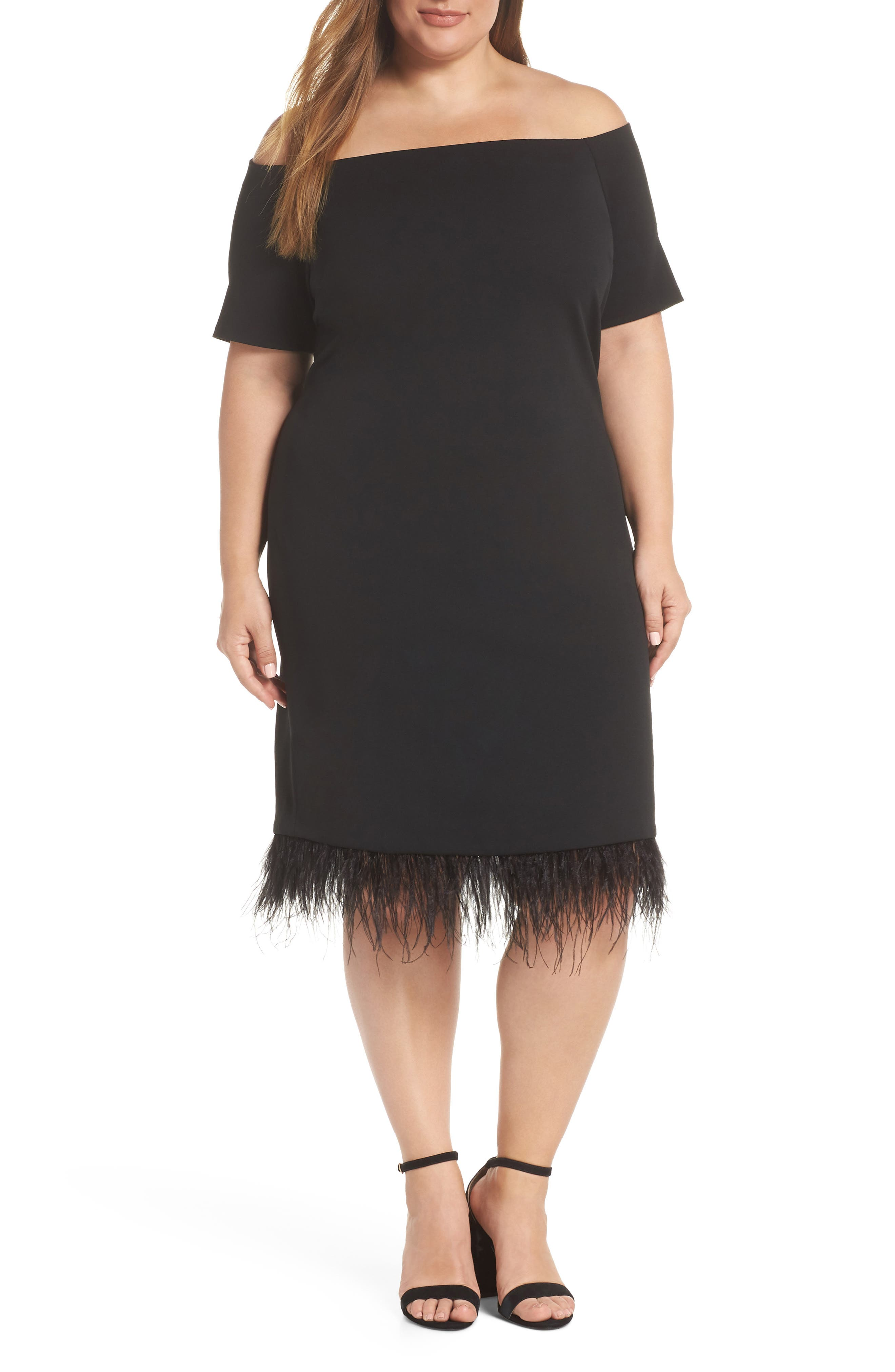 Feather Trim Sheath Dress,                             Main thumbnail 1, color,                             001