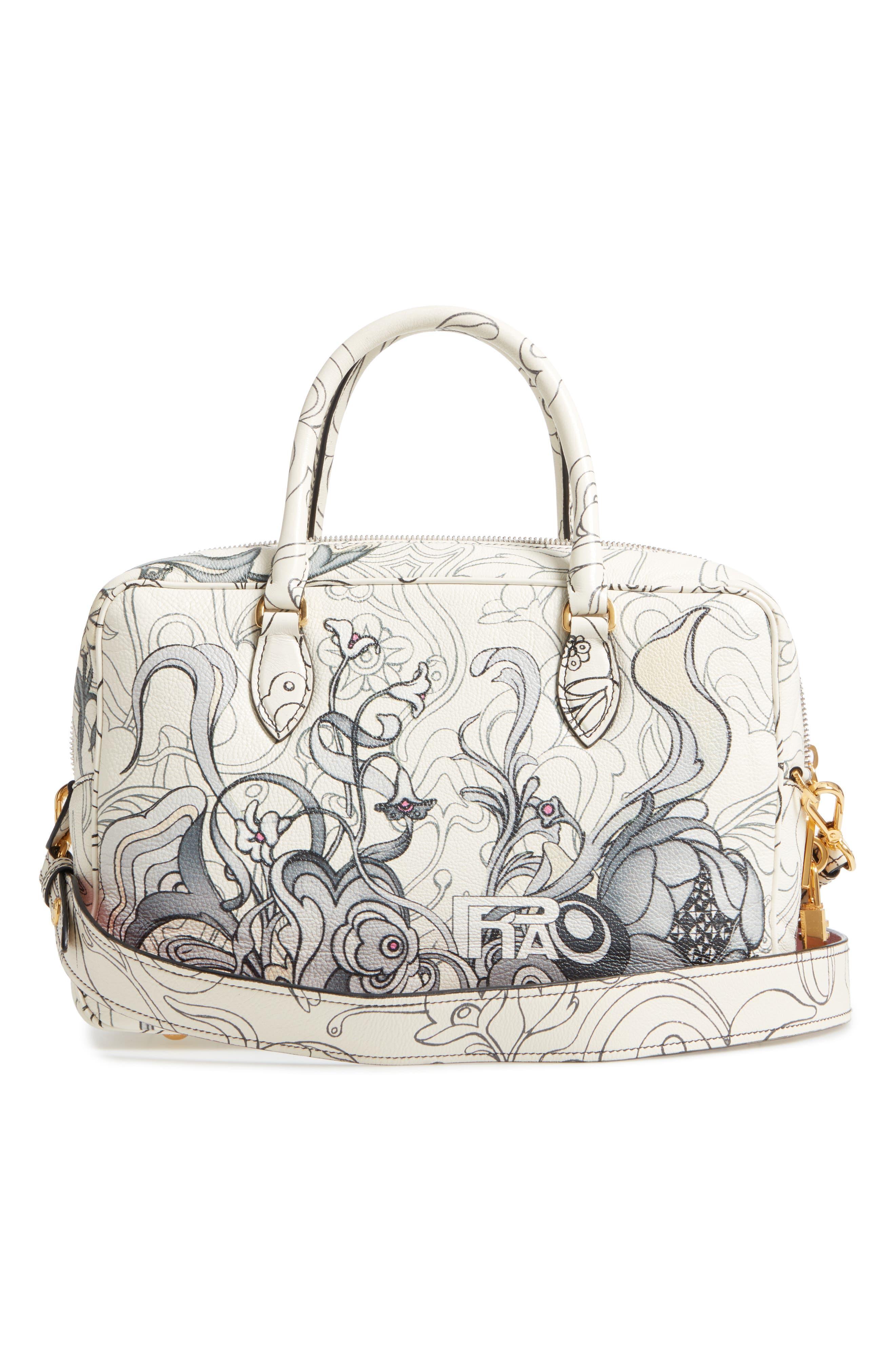 Glace Calfskin Rabbit Bowler Bag,                             Alternate thumbnail 3, color,                             100