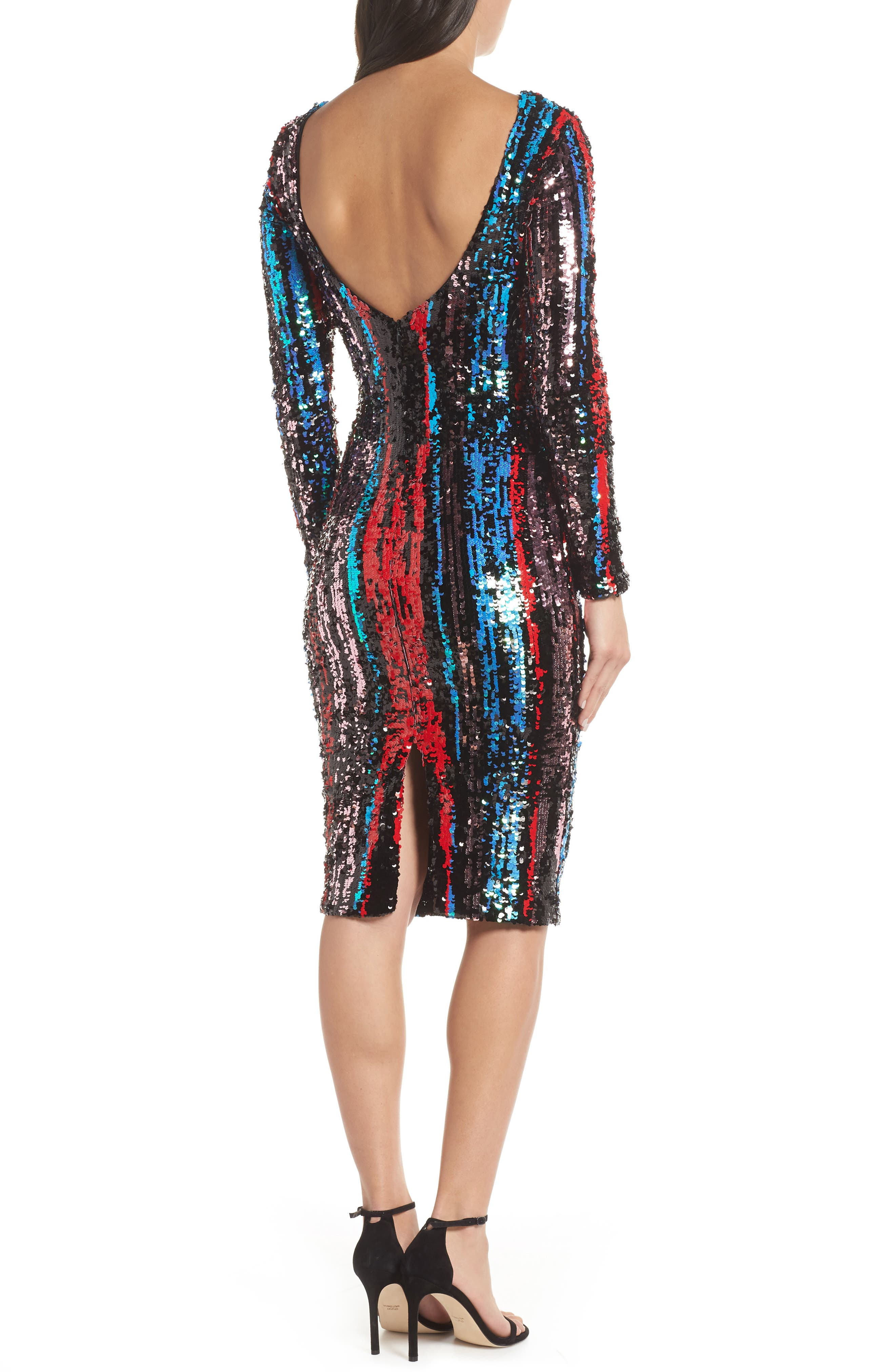 Emery Scoop Back Dress,                             Alternate thumbnail 3, color,                             ROUGE RED MULTI