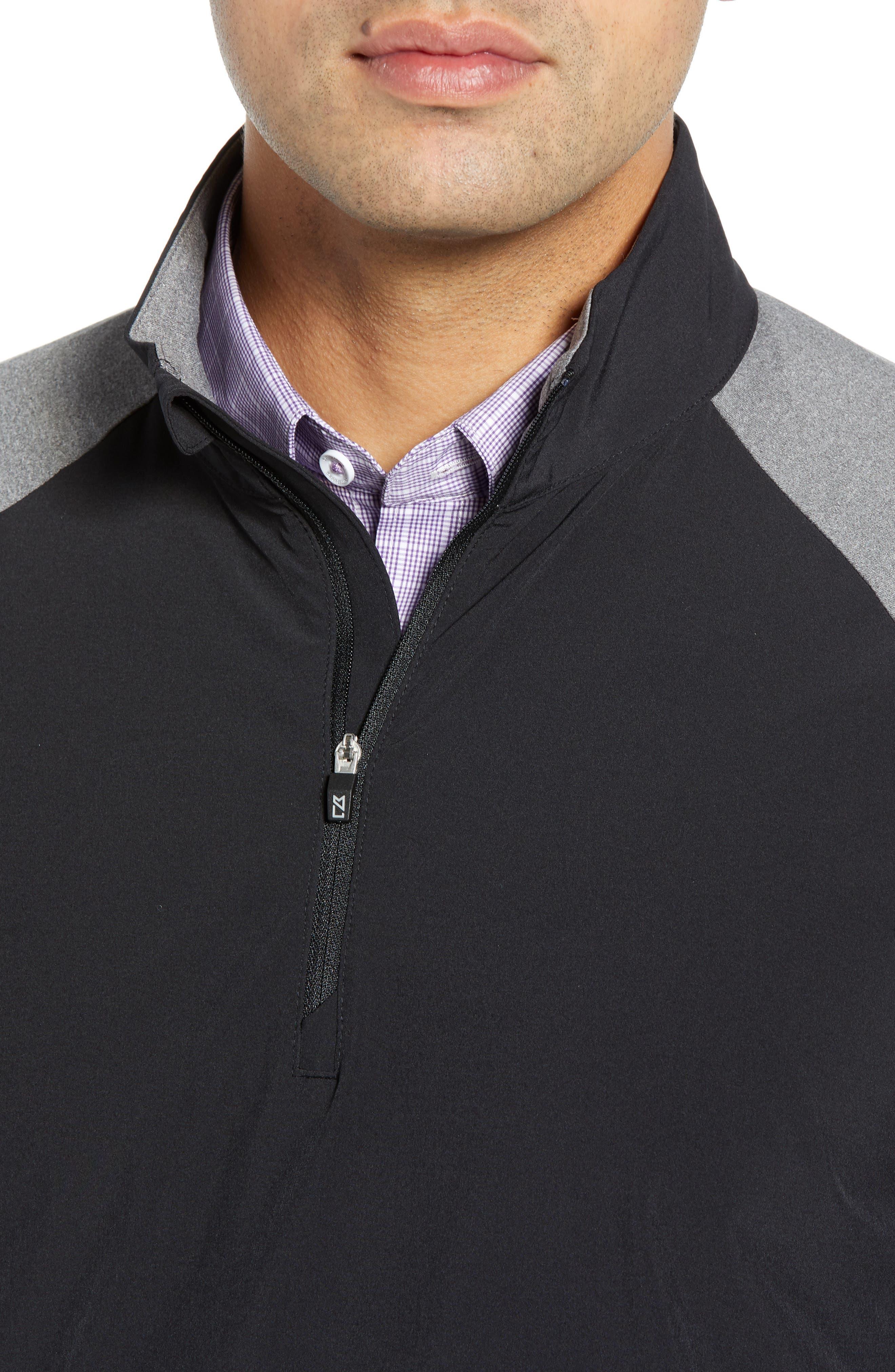 Response Hybrid Overknit Quarter Zip Pullover,                             Alternate thumbnail 4, color,                             BLACK