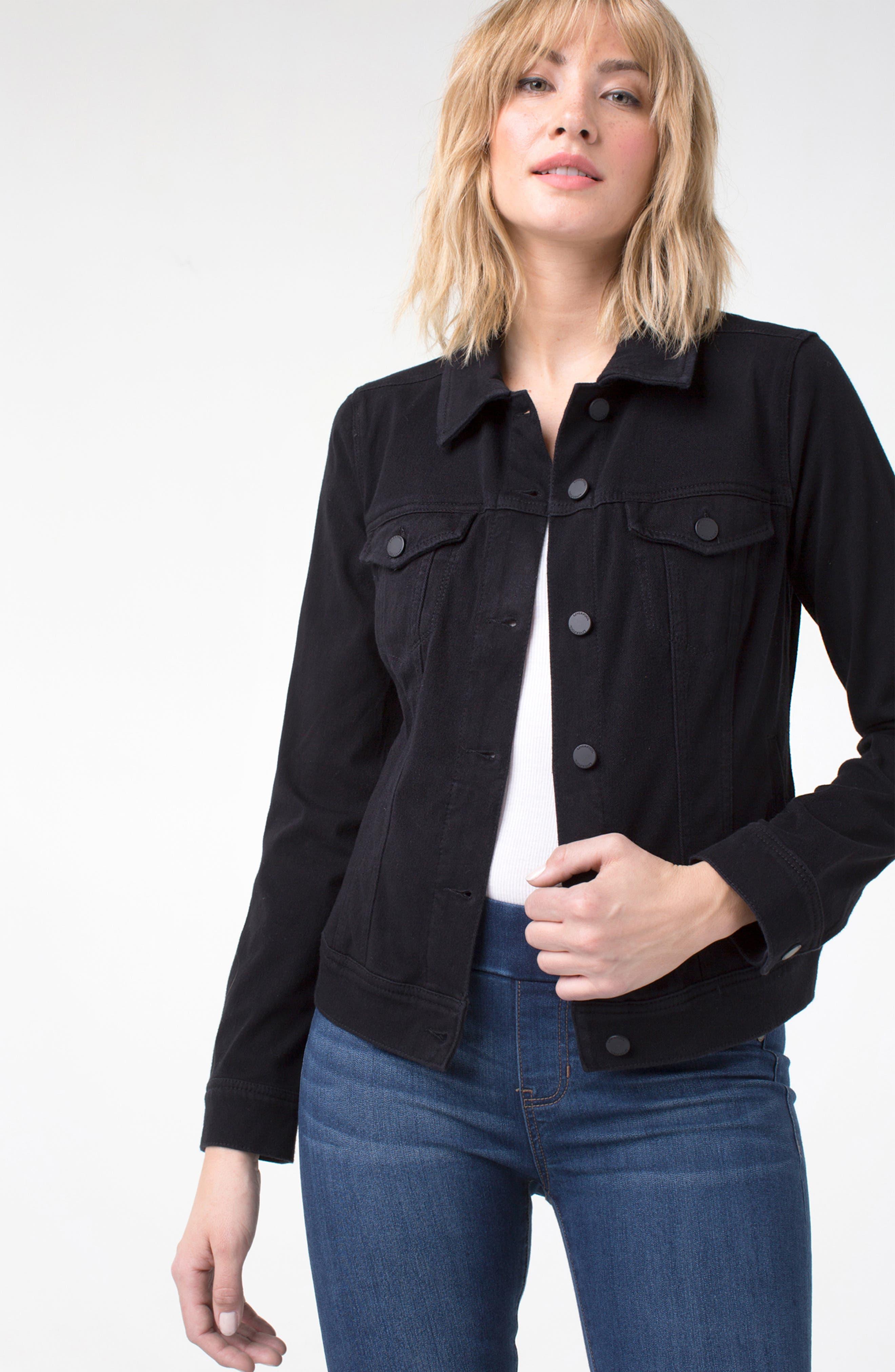 Jeans Co. Knit Denim Jacket,                             Alternate thumbnail 6, color,                             001