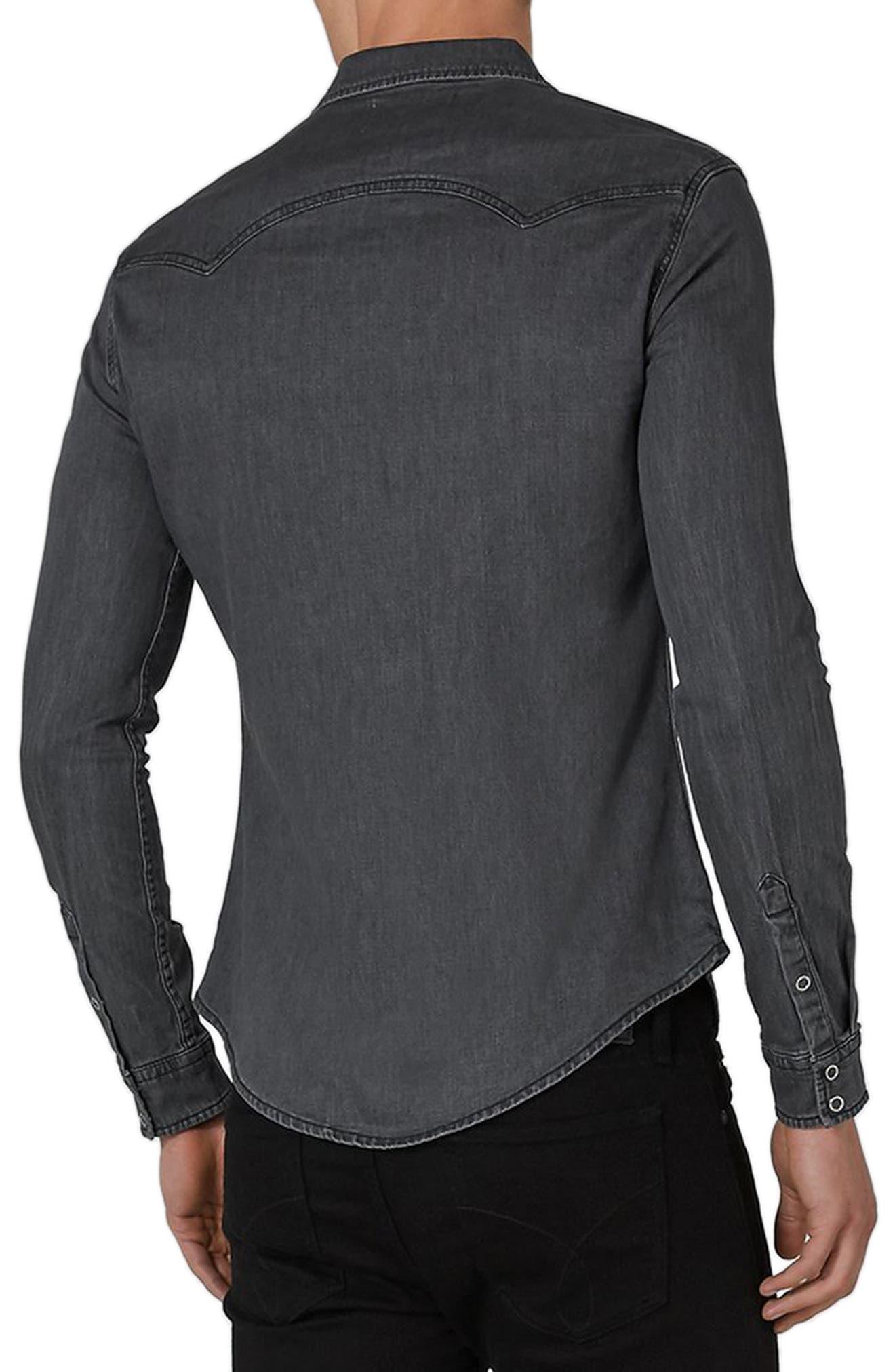 TOPMAN,                             Muscle Fit Denim Western Shirt,                             Alternate thumbnail 2, color,                             010