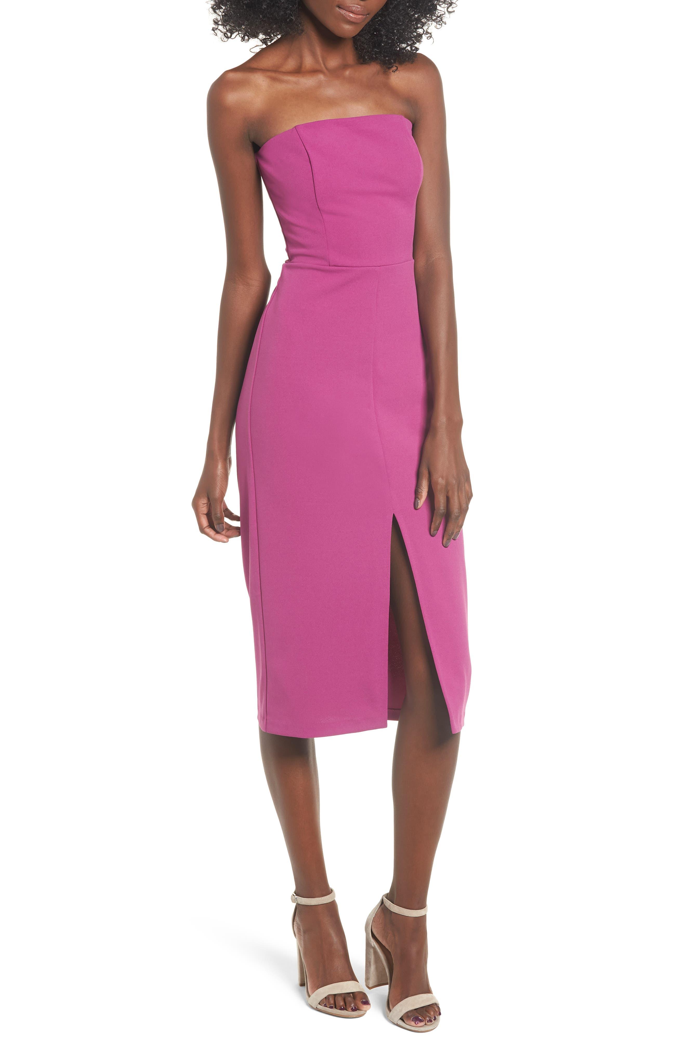 Leith Strapless Midi Dress, Purple