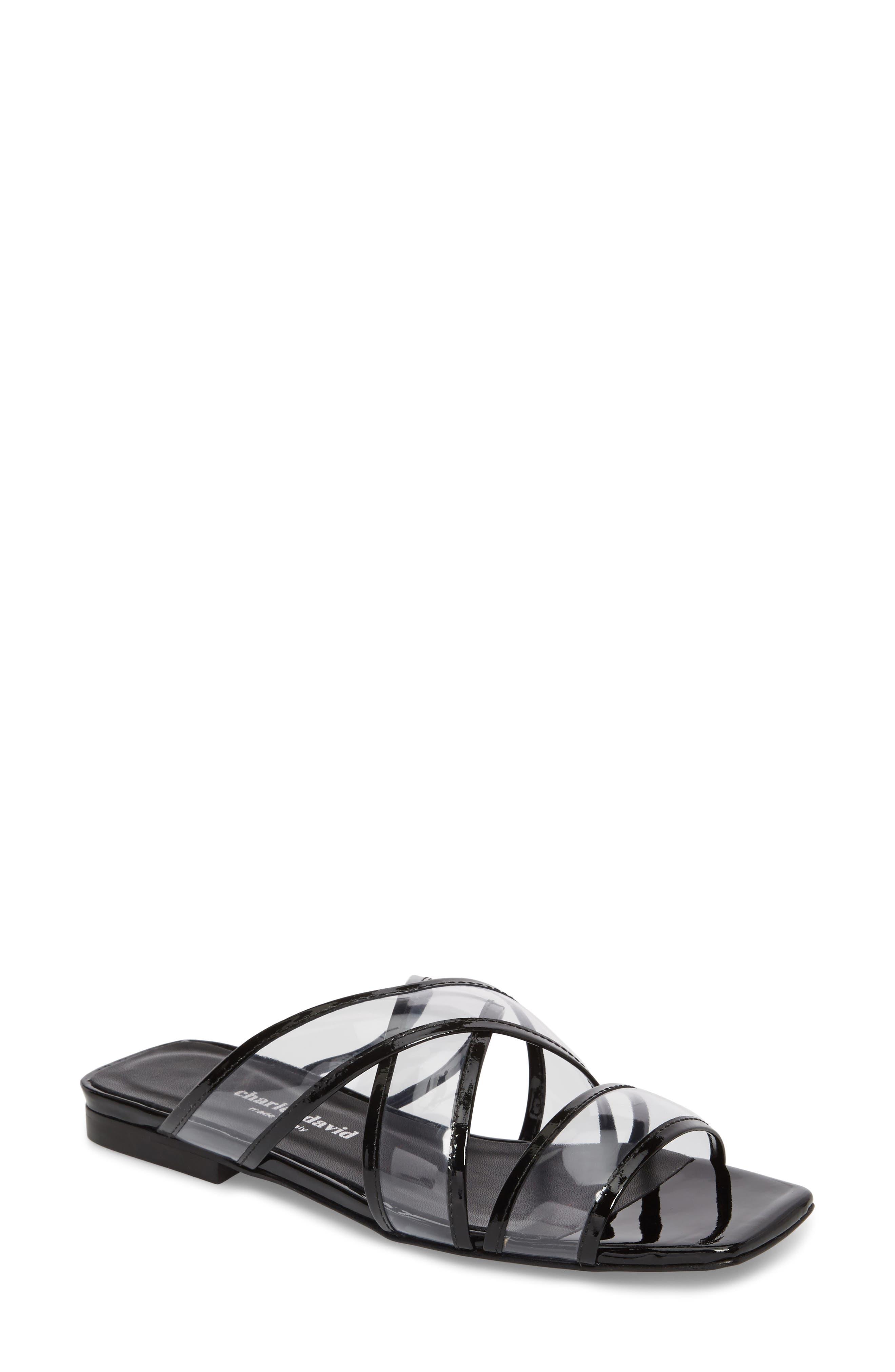 Drea Transparent Strap Slide Sandal,                             Main thumbnail 1, color,                             BLACK
