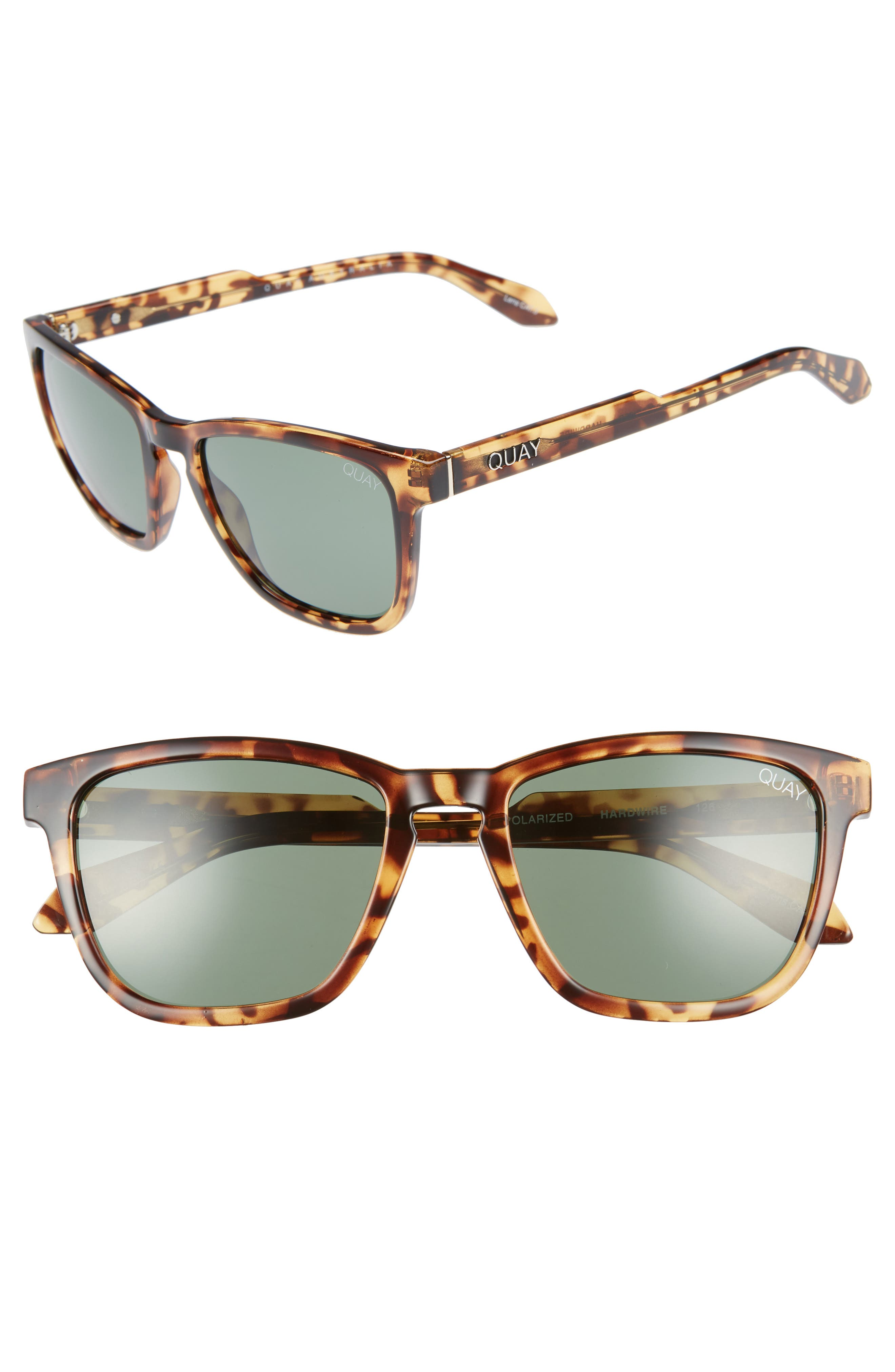 Hardwire 54mm Polarized Sunglasses,                         Main,                         color, TORT/ GREEN LENS