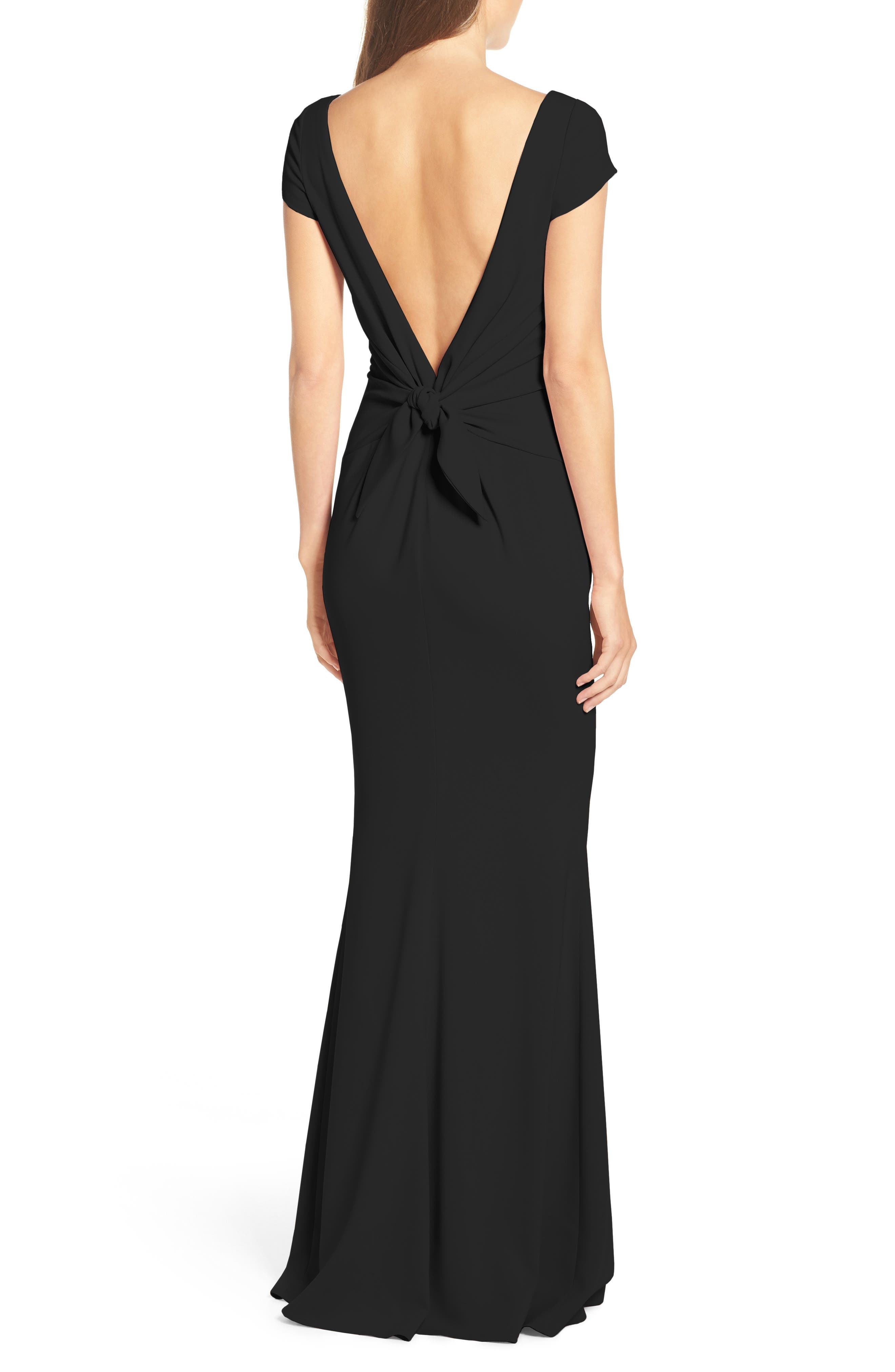 Intrigue Plunge Knot Back Gown,                             Alternate thumbnail 2, color,                             BLACK