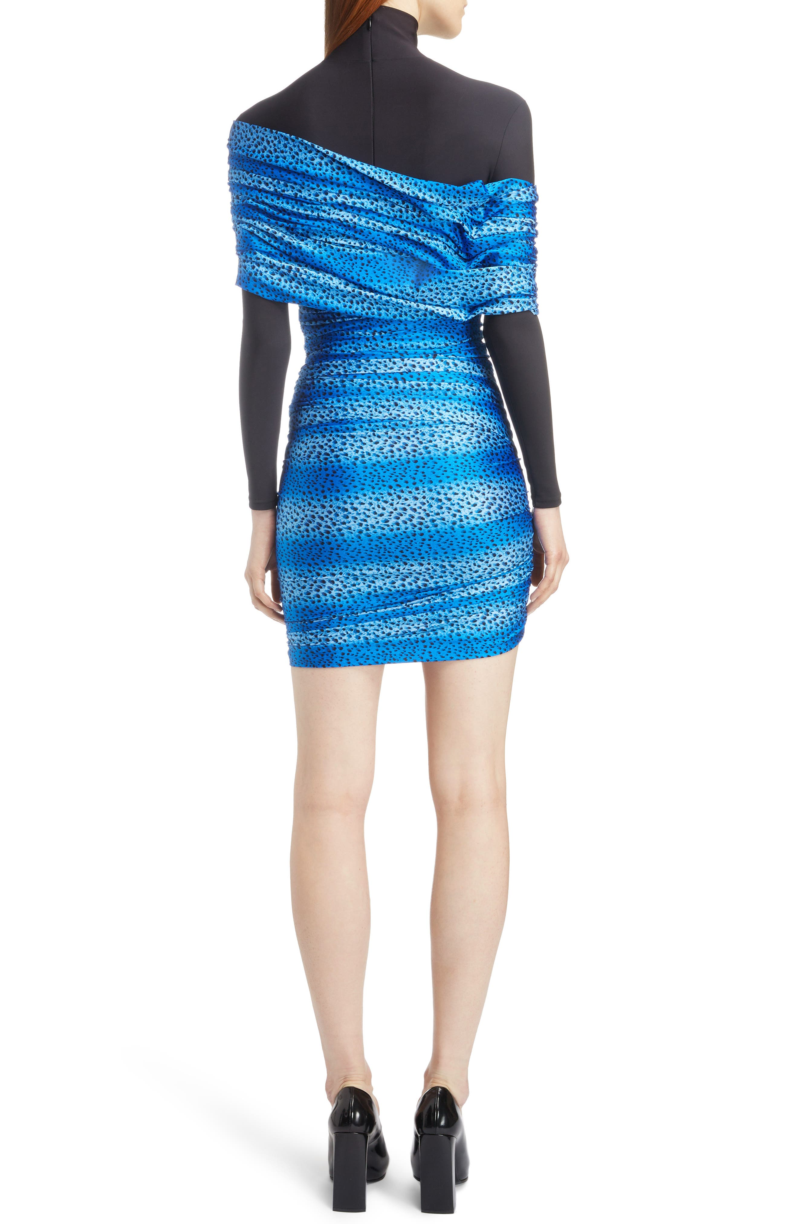 Cheetah Print Overlay Body-Con Dress,                             Alternate thumbnail 2, color,                             4011-BLUE