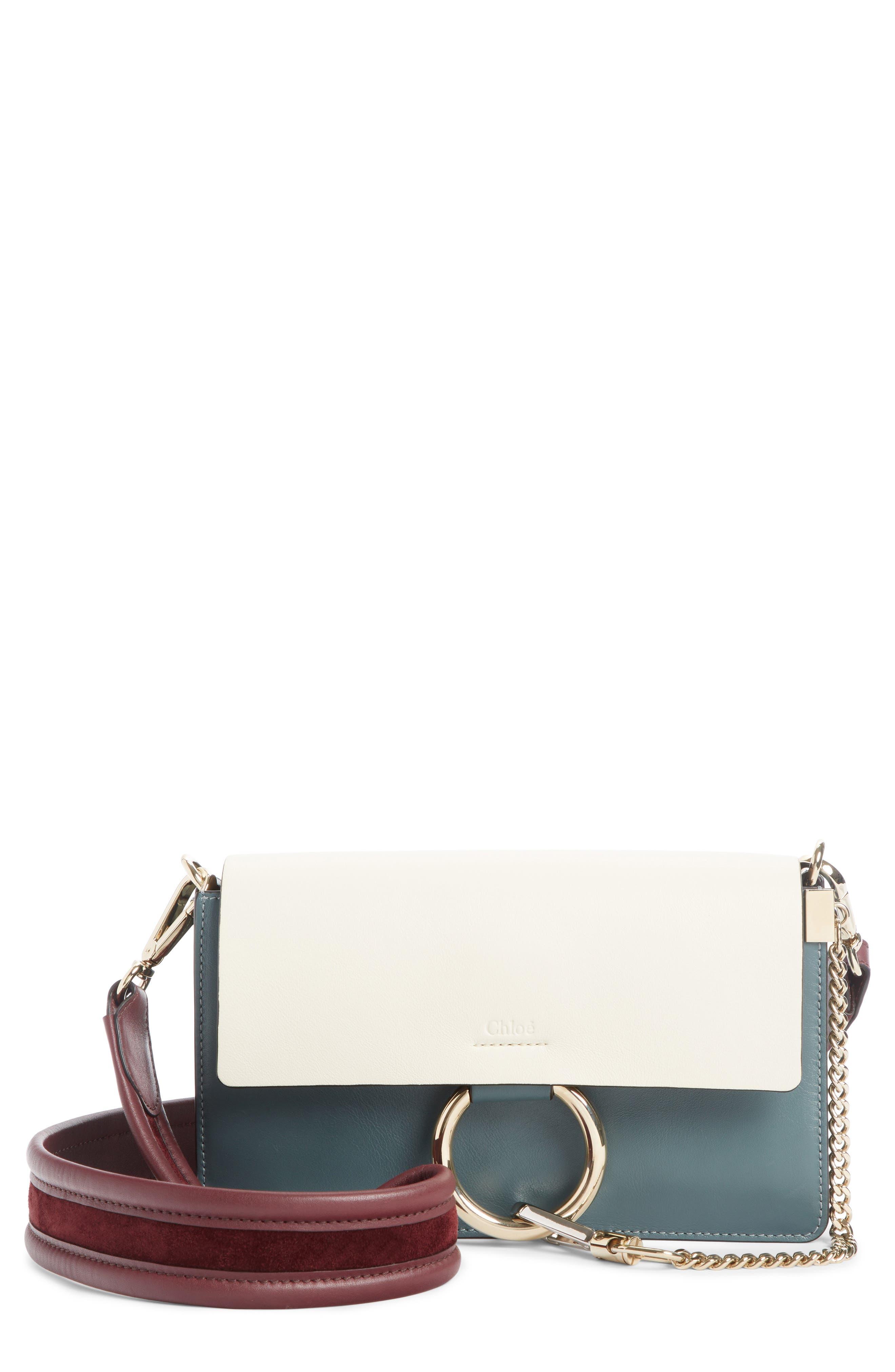Faye Colorblock Leather Shoulder Bag,                         Main,                         color, BLUE/ WHITE