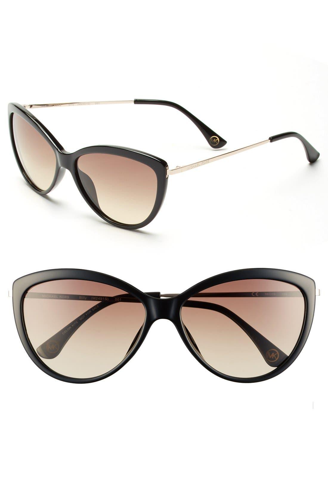 58mm Cat Eye Sunglasses,                         Main,                         color, 001