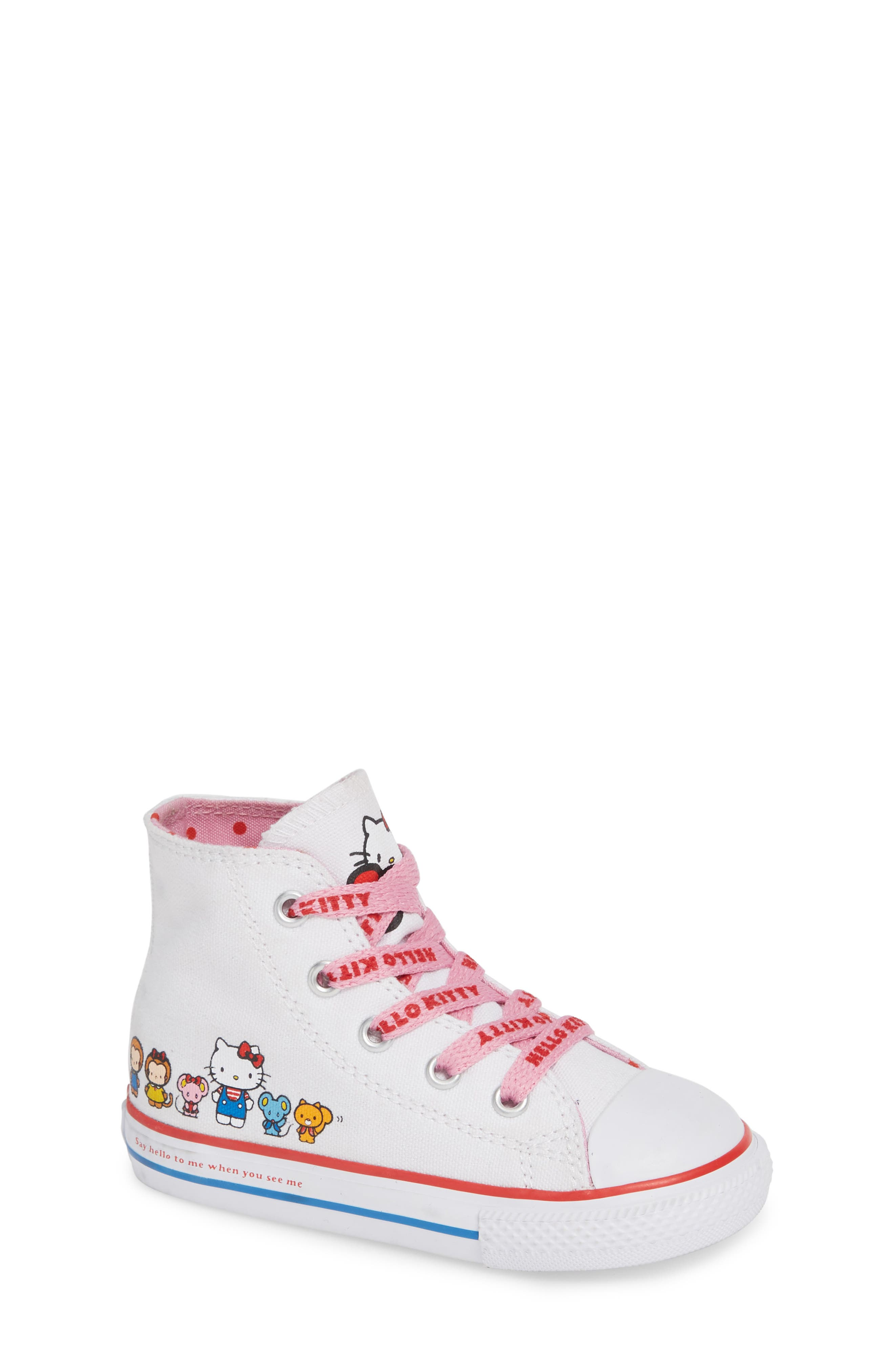 Chuck Taylor<sup>®</sup> All Star<sup>®</sup> Hello Kitty<sup>®</sup> High Top Sneaker,                             Main thumbnail 1, color,                             WHITE