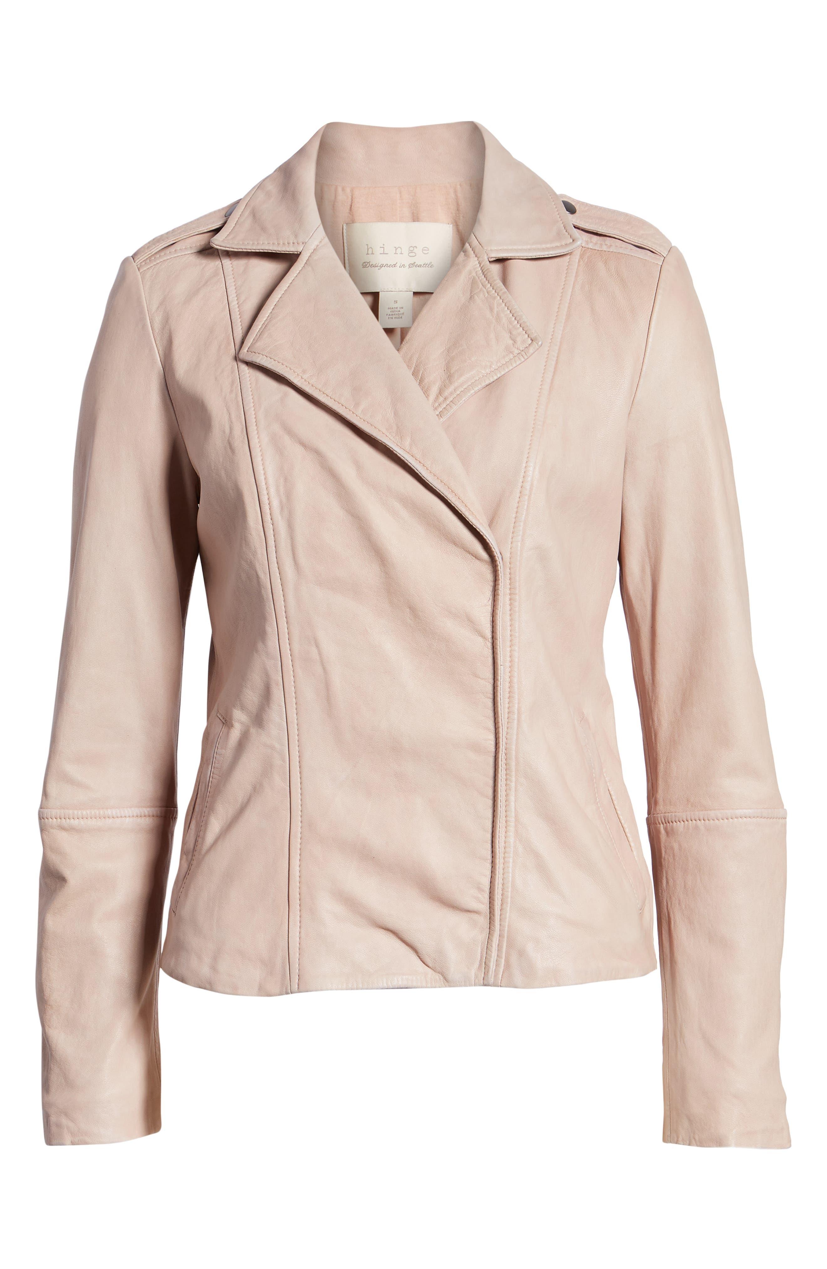 Feminine Leather Moto Jacket,                             Alternate thumbnail 6, color,                             270
