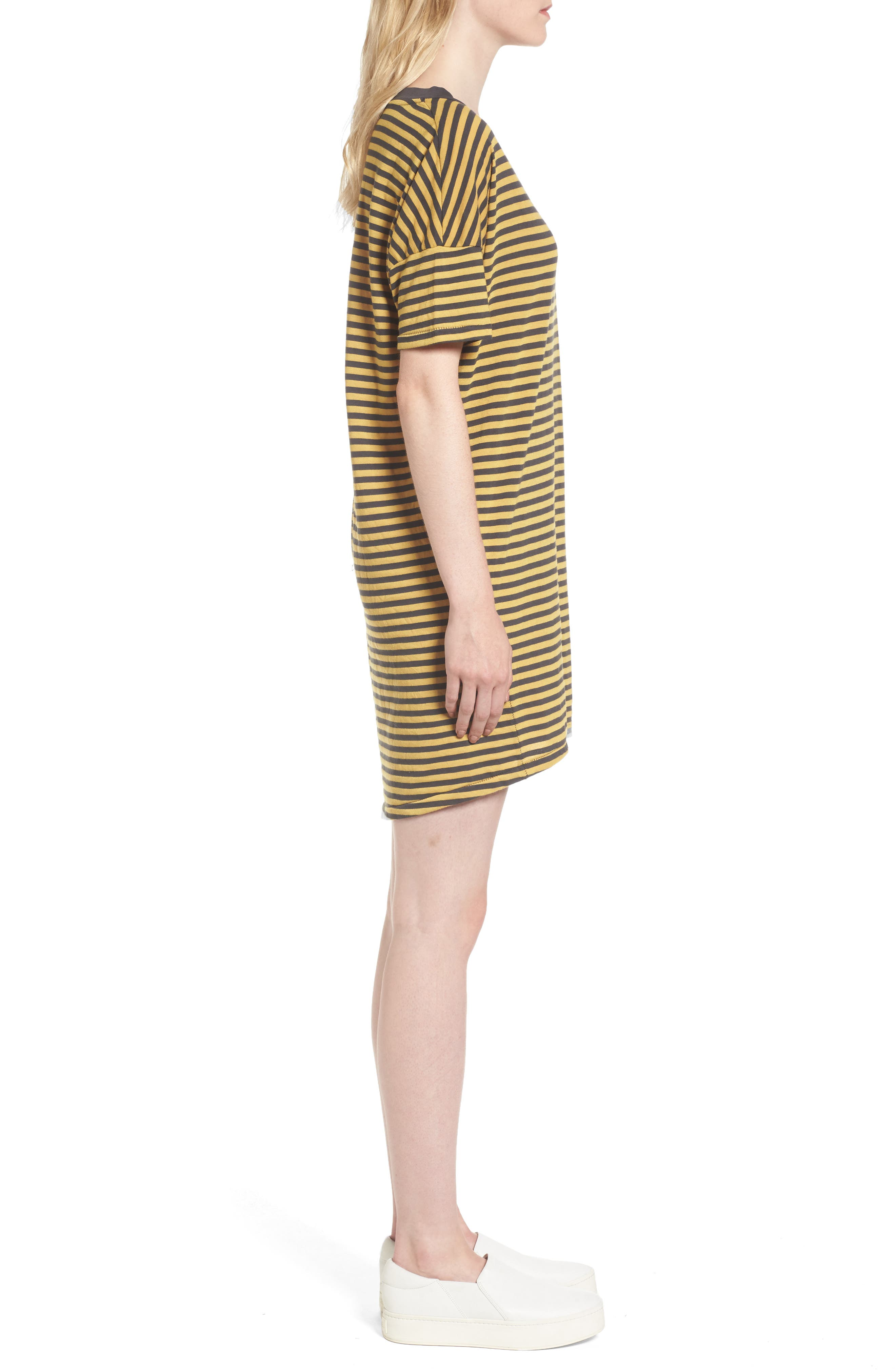 Mustard Stripe T-Shirt Dress,                             Alternate thumbnail 3, color,                             020