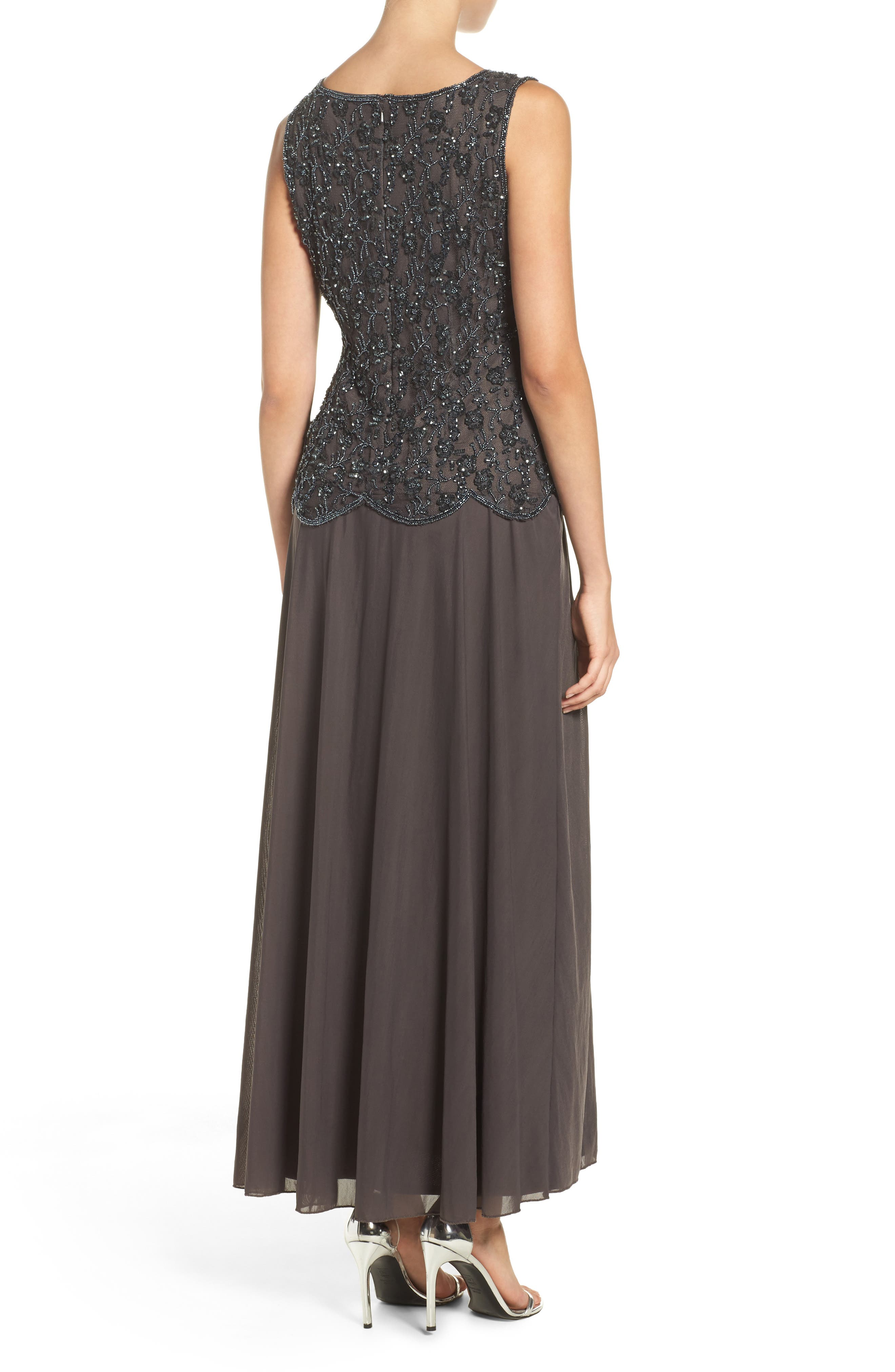 Embellished Mesh Gown,                             Alternate thumbnail 3, color,                             020