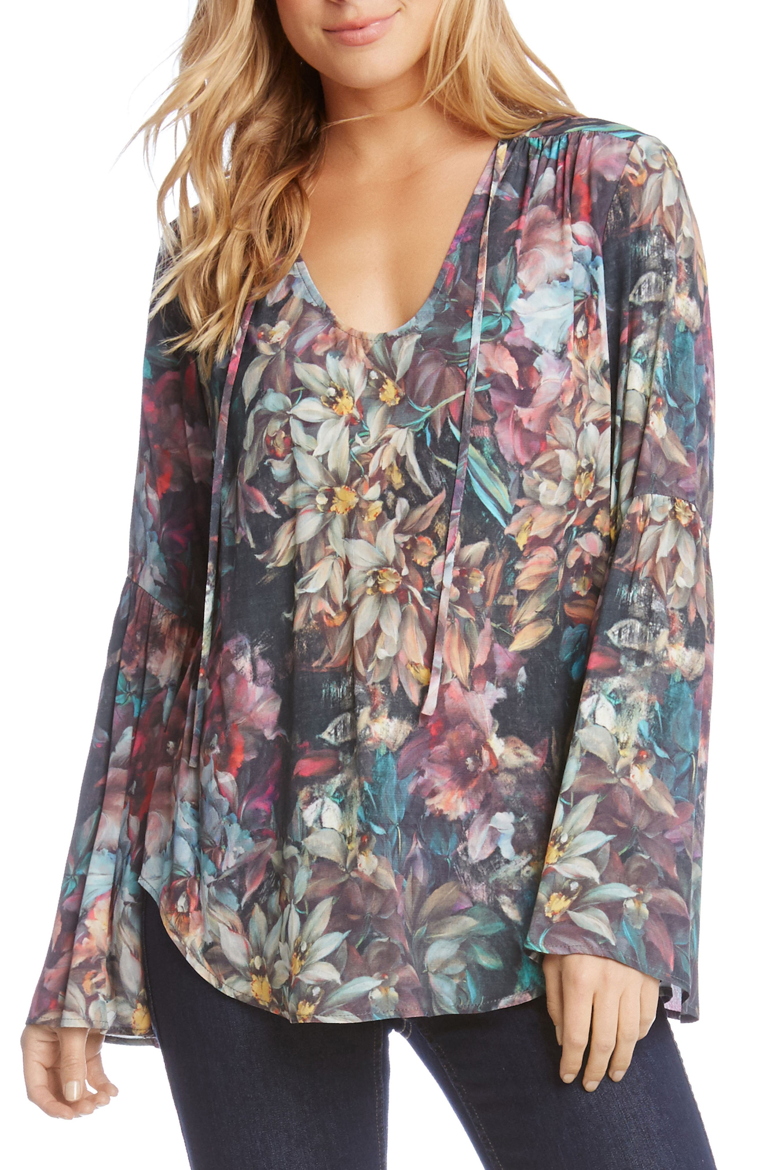 Painted Floral Bell Sleeve Top,                             Main thumbnail 1, color,                             003