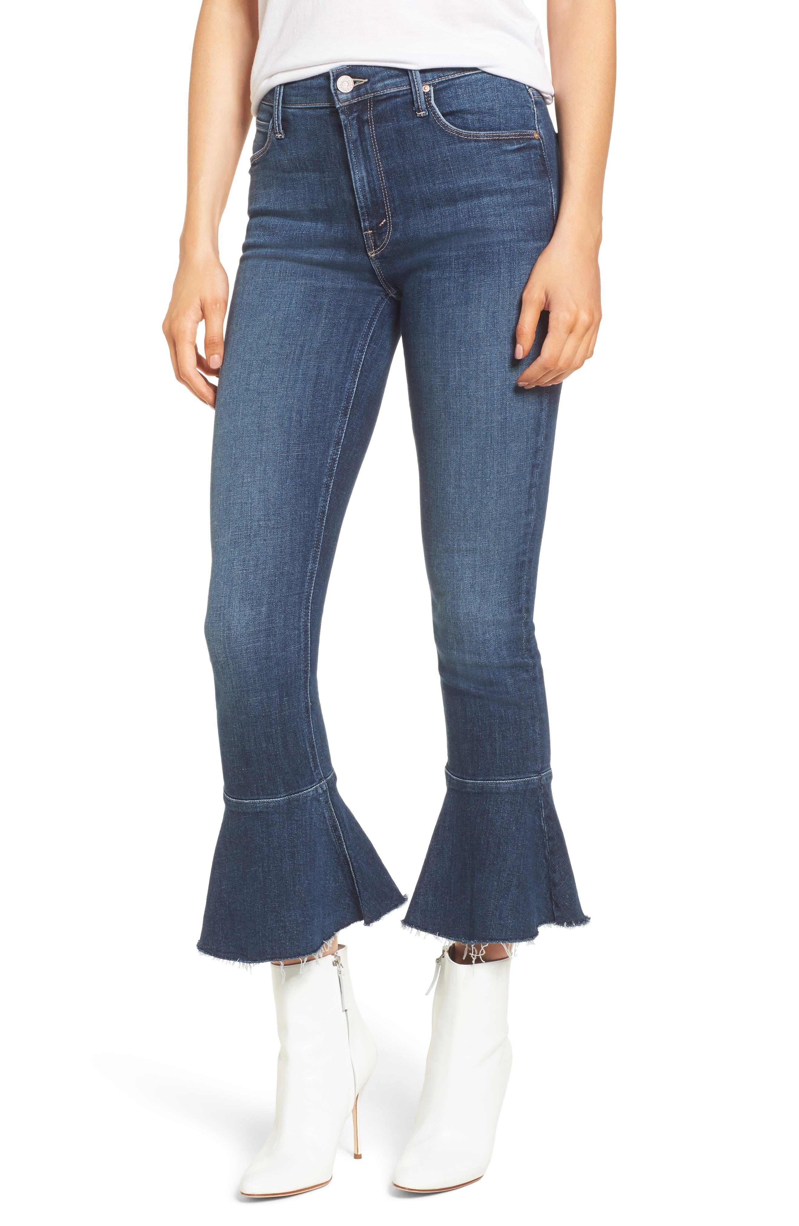 The Cha Cha Fray Flare Crop Jeans,                             Main thumbnail 1, color,                             GIRL CRUSH