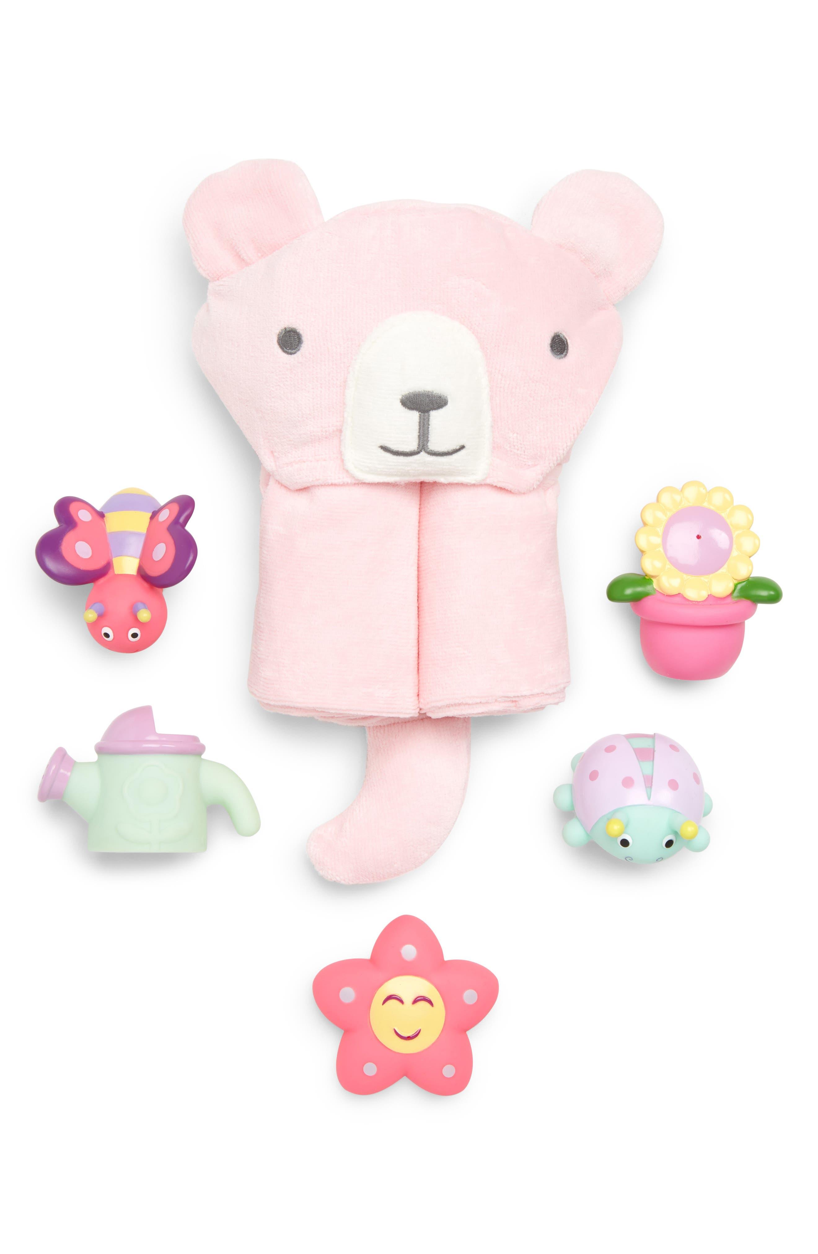 Springtime Squirties Bath Wrap & Bath Toys Set,                         Main,                         color, PINK