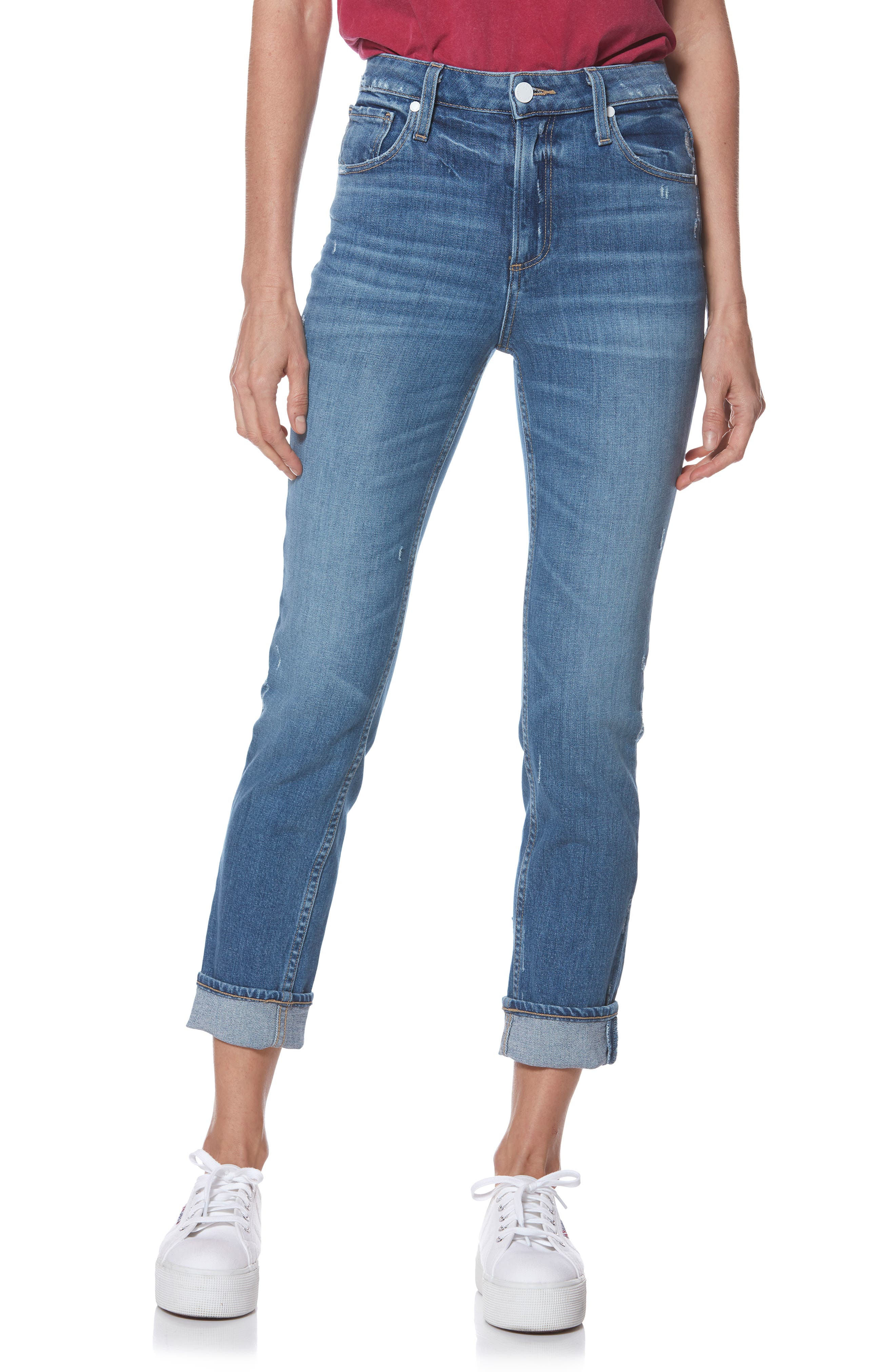 Sarah High Waist Straight Slim Leg Jeans,                             Main thumbnail 1, color,                             EMBARCADERO