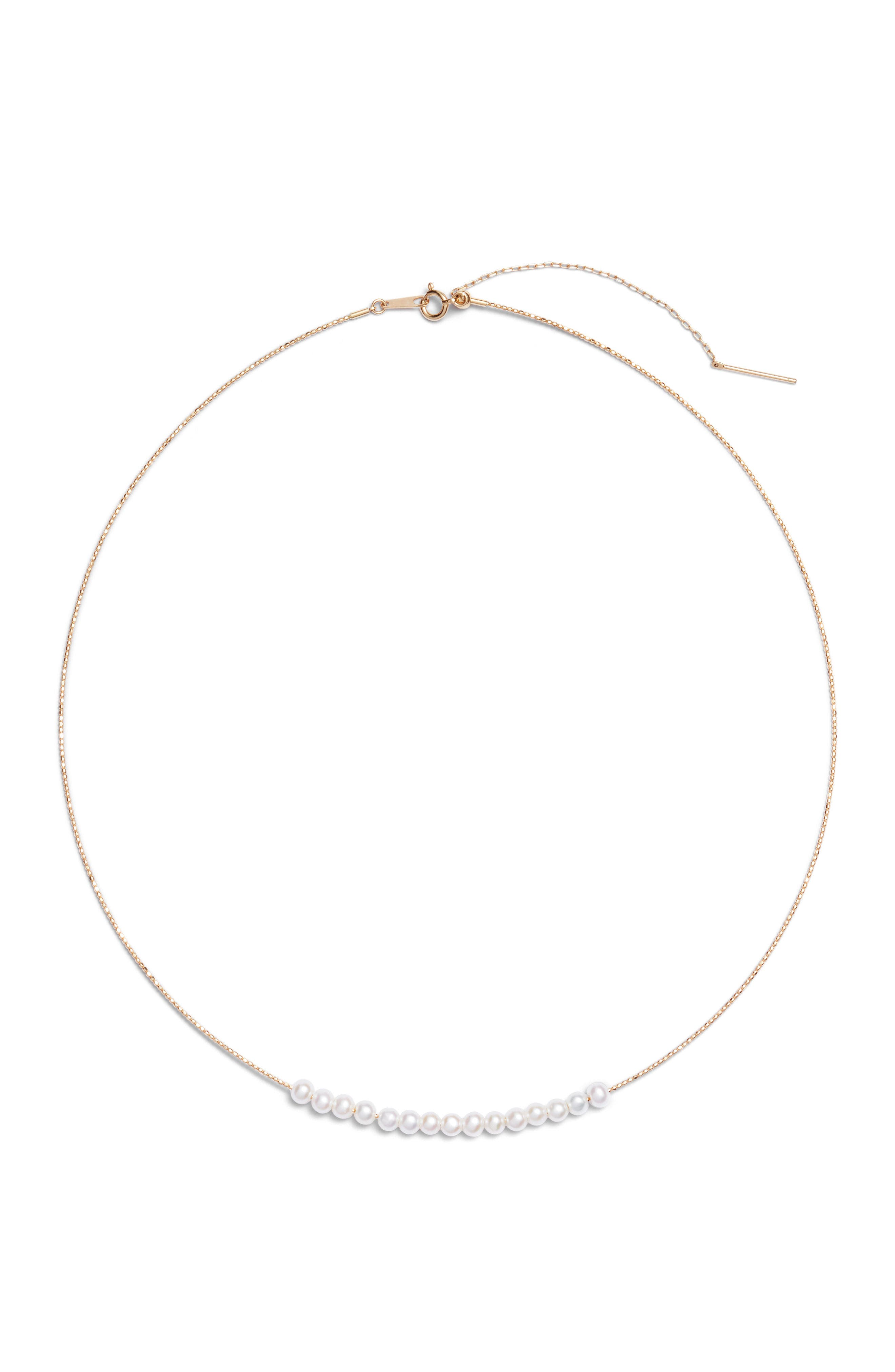 Baby Pearl Skinny Choker Necklace,                         Main,                         color, YELLOW GOLD/ PEARL